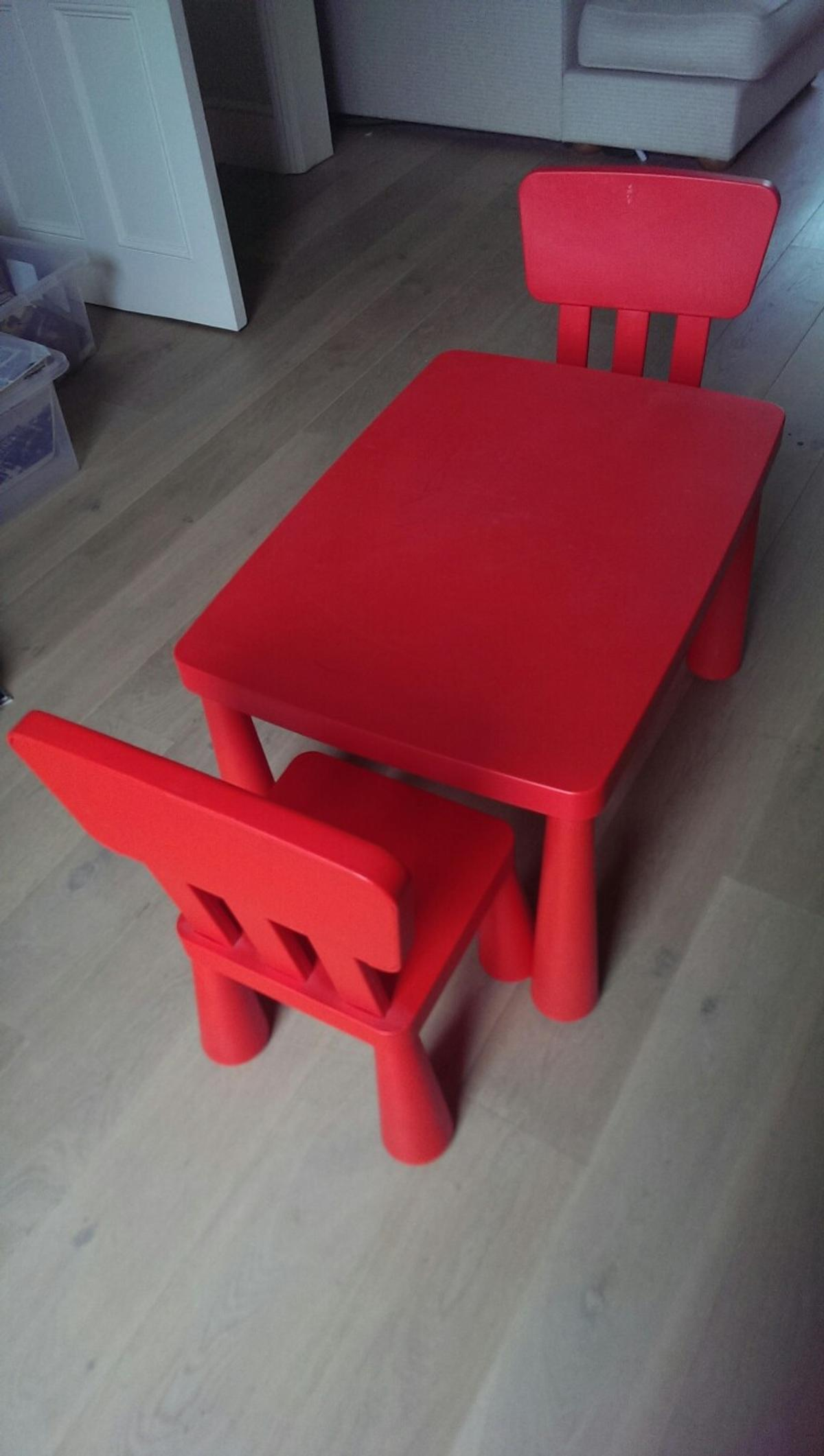 Description Red Ikea Mammut Children S Table And Two Chairs