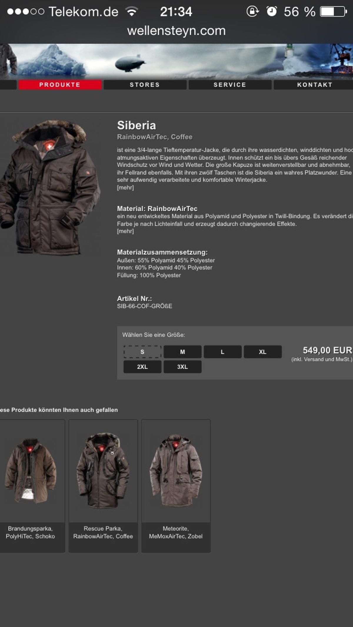 Herren Winterjacke Wellensteyn Siberia gr. M in 20539
