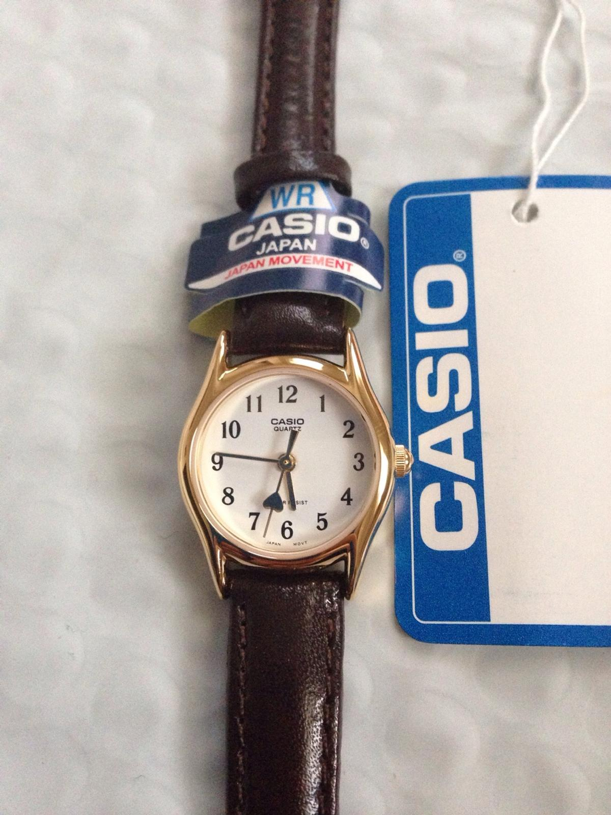 Casio Brown Leather Band W Heart Hand Ladies
