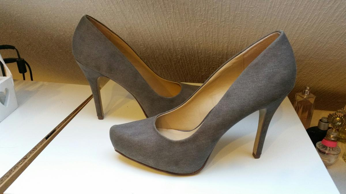 Pumps grau 41 high heels spitz deichmann