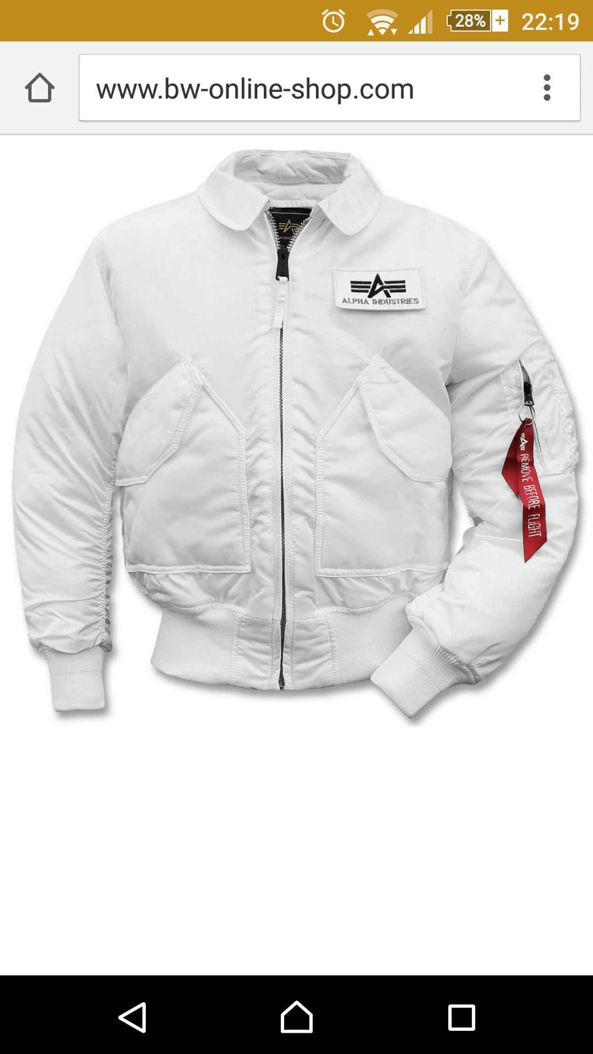 factory authentic f491a fc701 Alpha Jacke Weiß!!!!