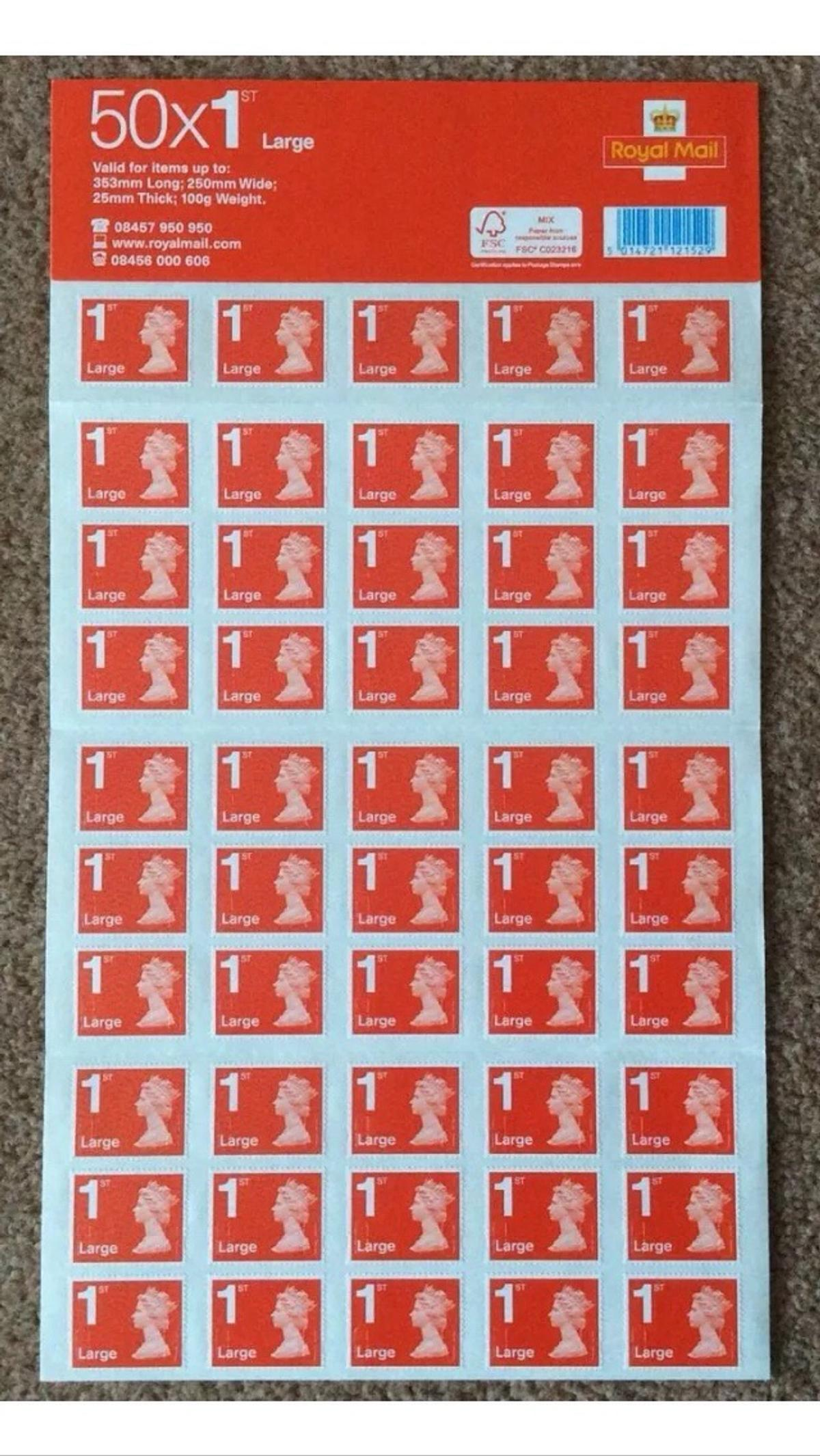 royal mail large letter first class stamp -50