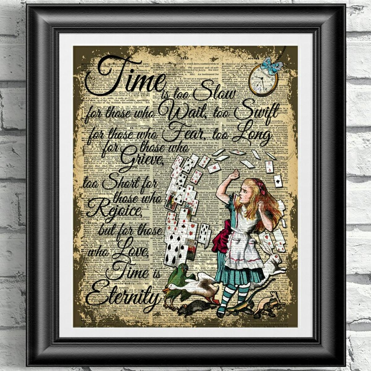Alice in Wonderland White Rabbit Clock Dictionary Art Print Book Page Picture