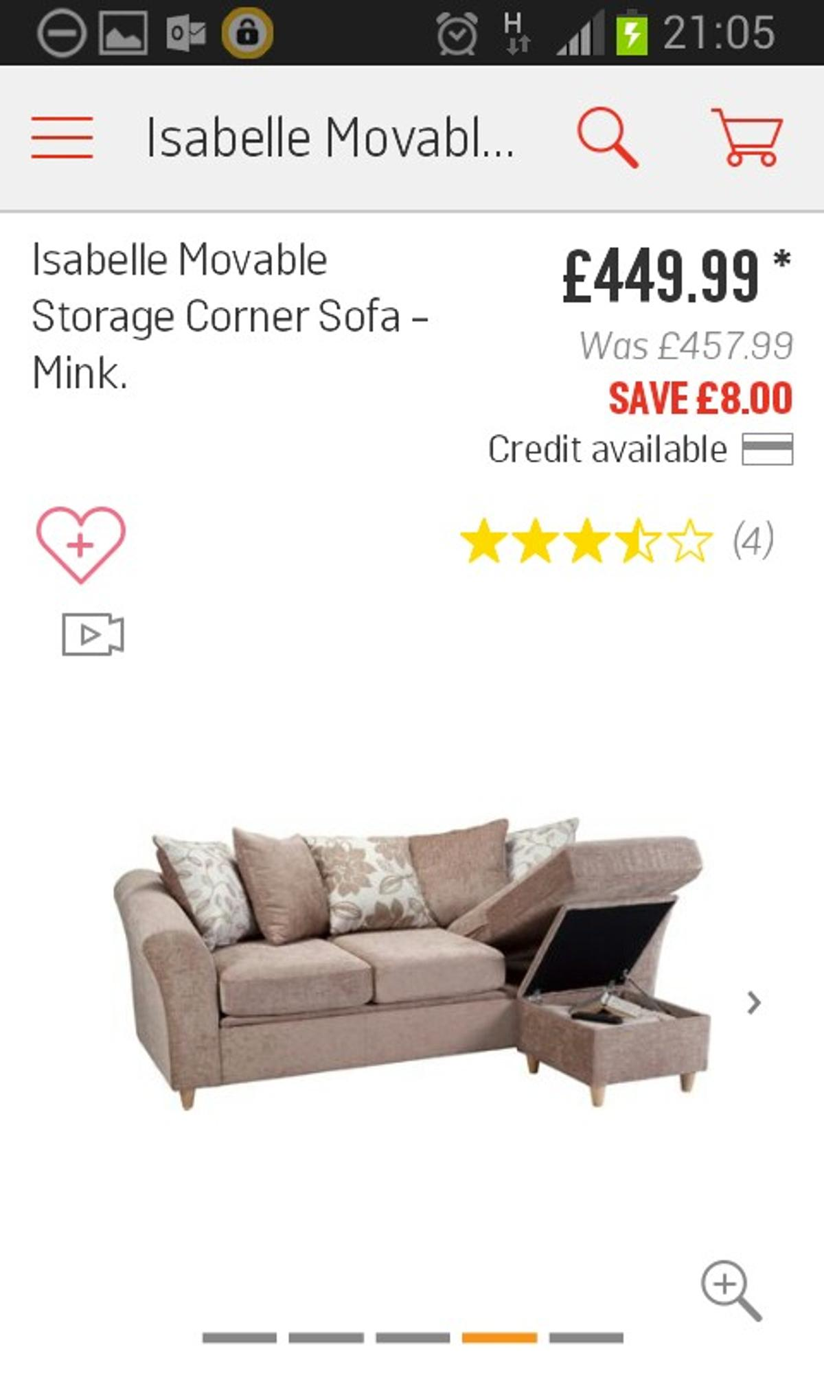 Miraculous 60 Off Argos Isabelle Storage Sofa In Bs32 Almondsbury For Bralicious Painted Fabric Chair Ideas Braliciousco