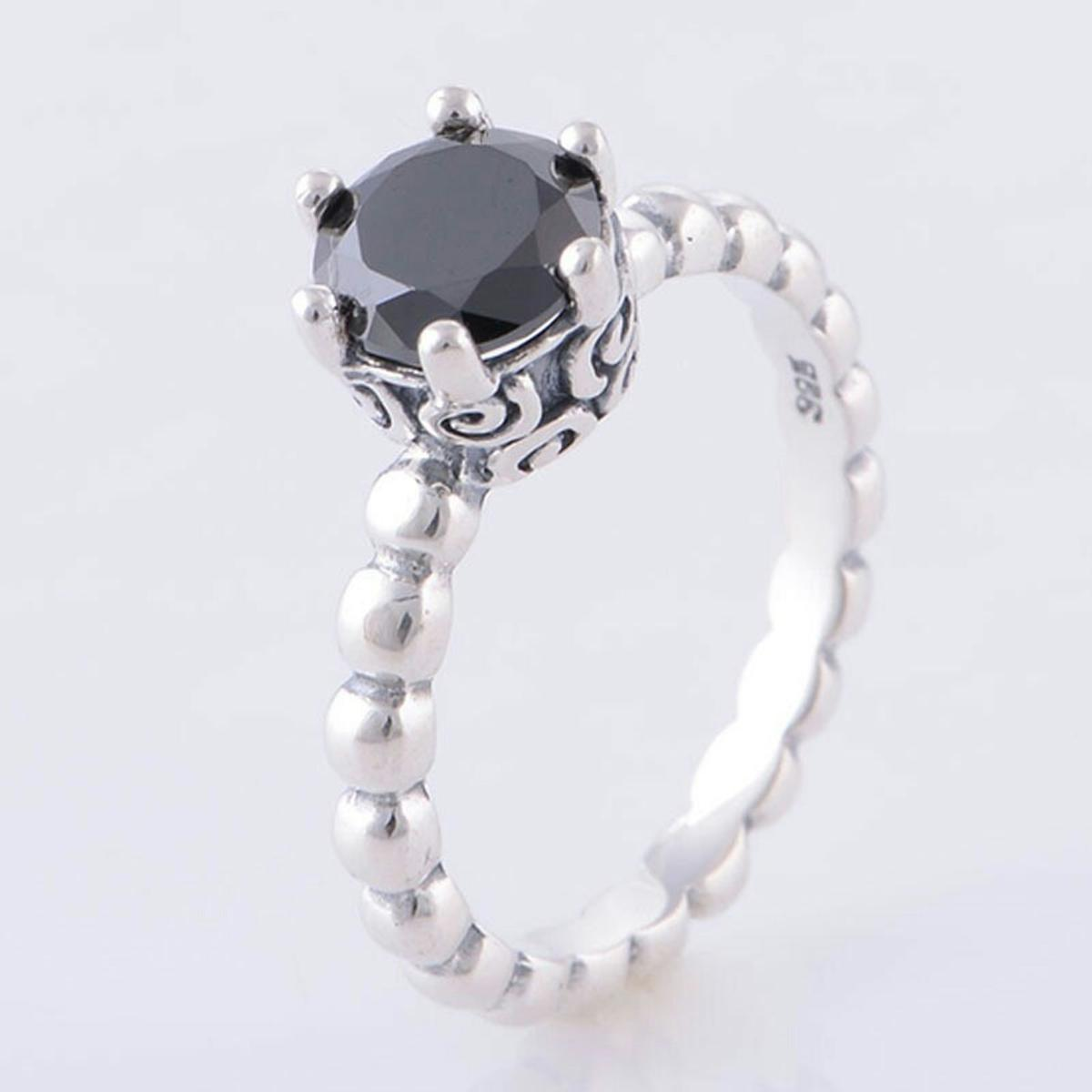 fb4a7072f PANDORA BLACK SPINEL BUBBLE RING SIZE 48 in M20 Manchester for ...