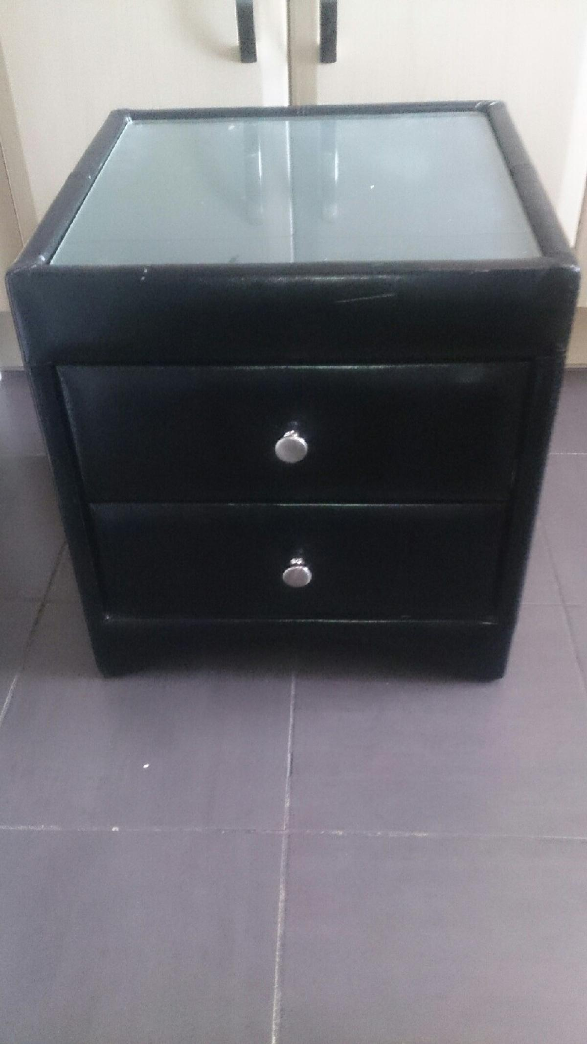 Picture of: Faux Leather Bedside Table With Glass Top In Cr7 London For 15 00 For Sale Shpock