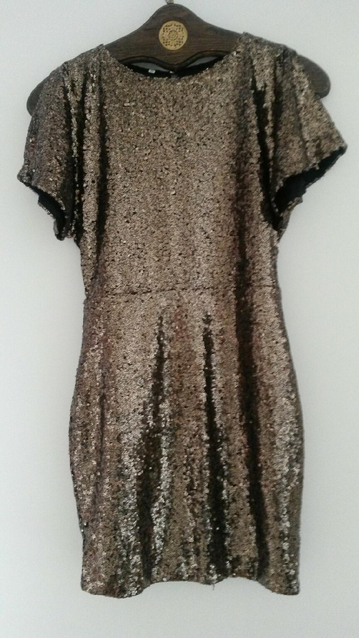 Silvester Party Kleid Mini Gold Pailletten
