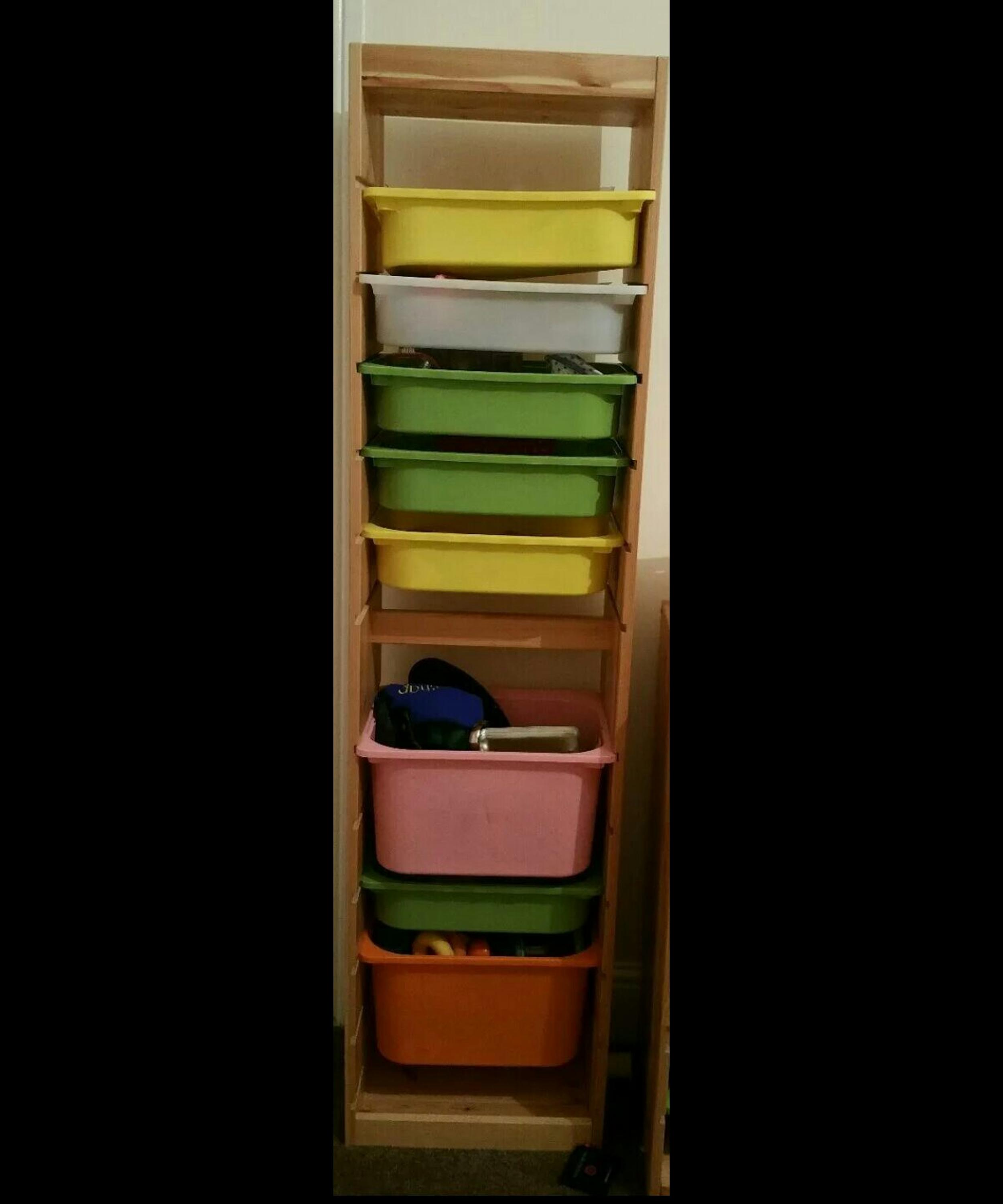 Tall Wood Ikea Trofast Storage Unit Boxes