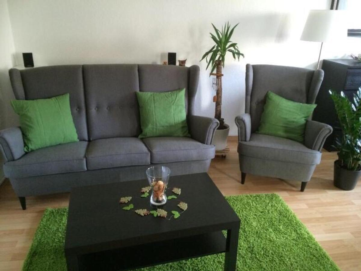 Ikea Strandmon Sessel Hocker Nordvalla grau