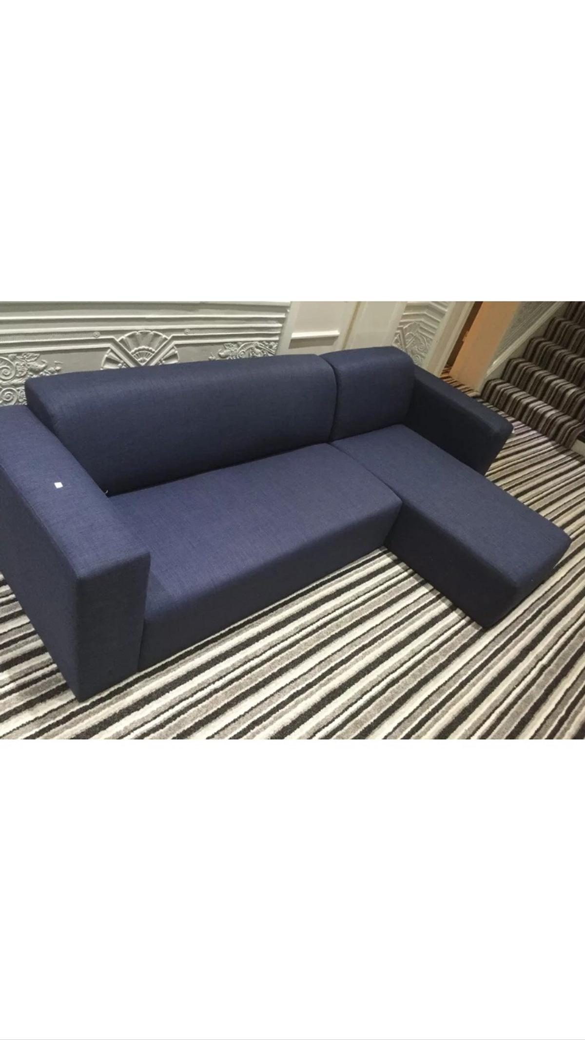 Tesco Stanza L Shape Blue Denim Sofa In