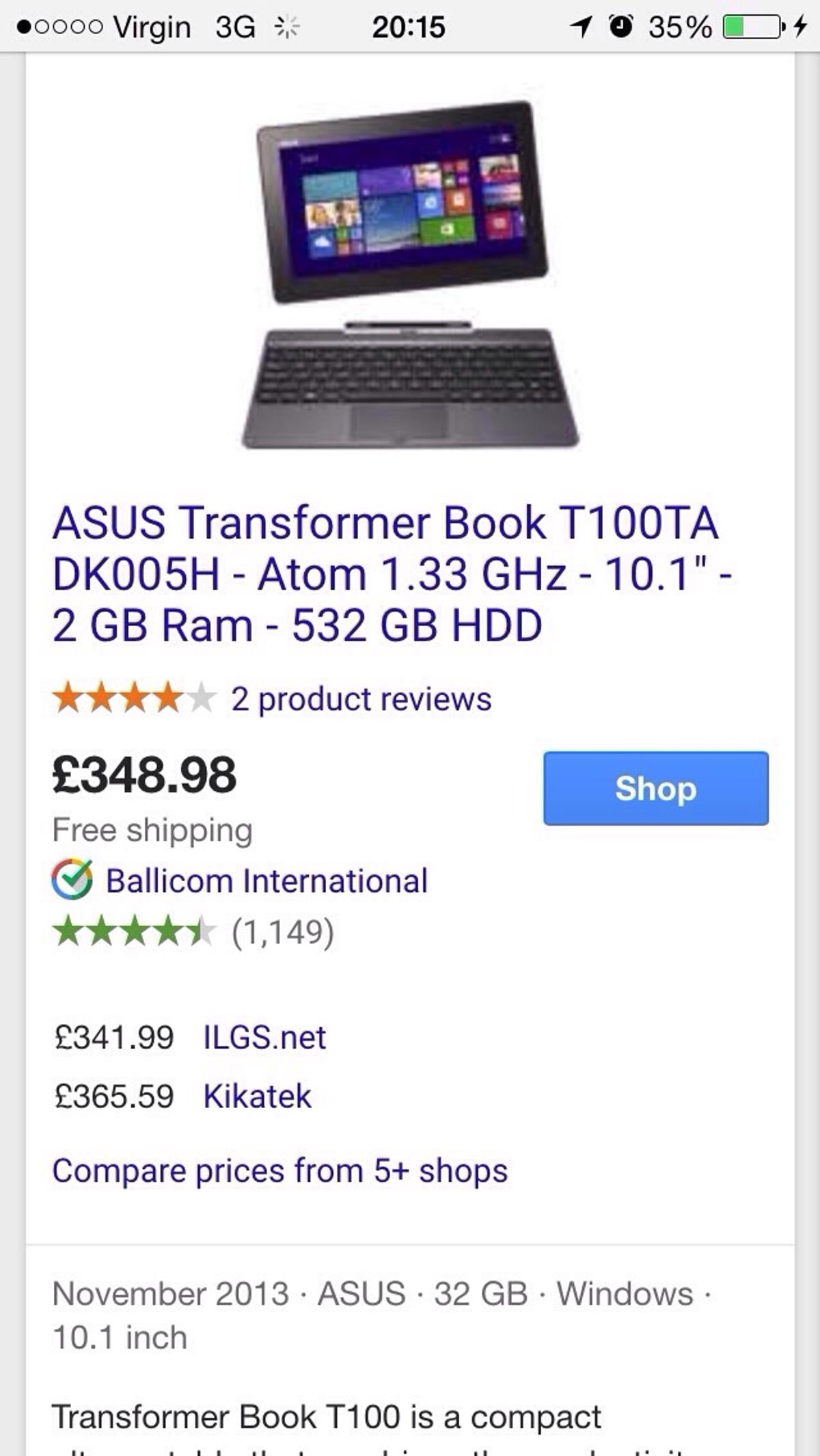 Asus transformer Windows 8 tablet / laptop in TW9 London for