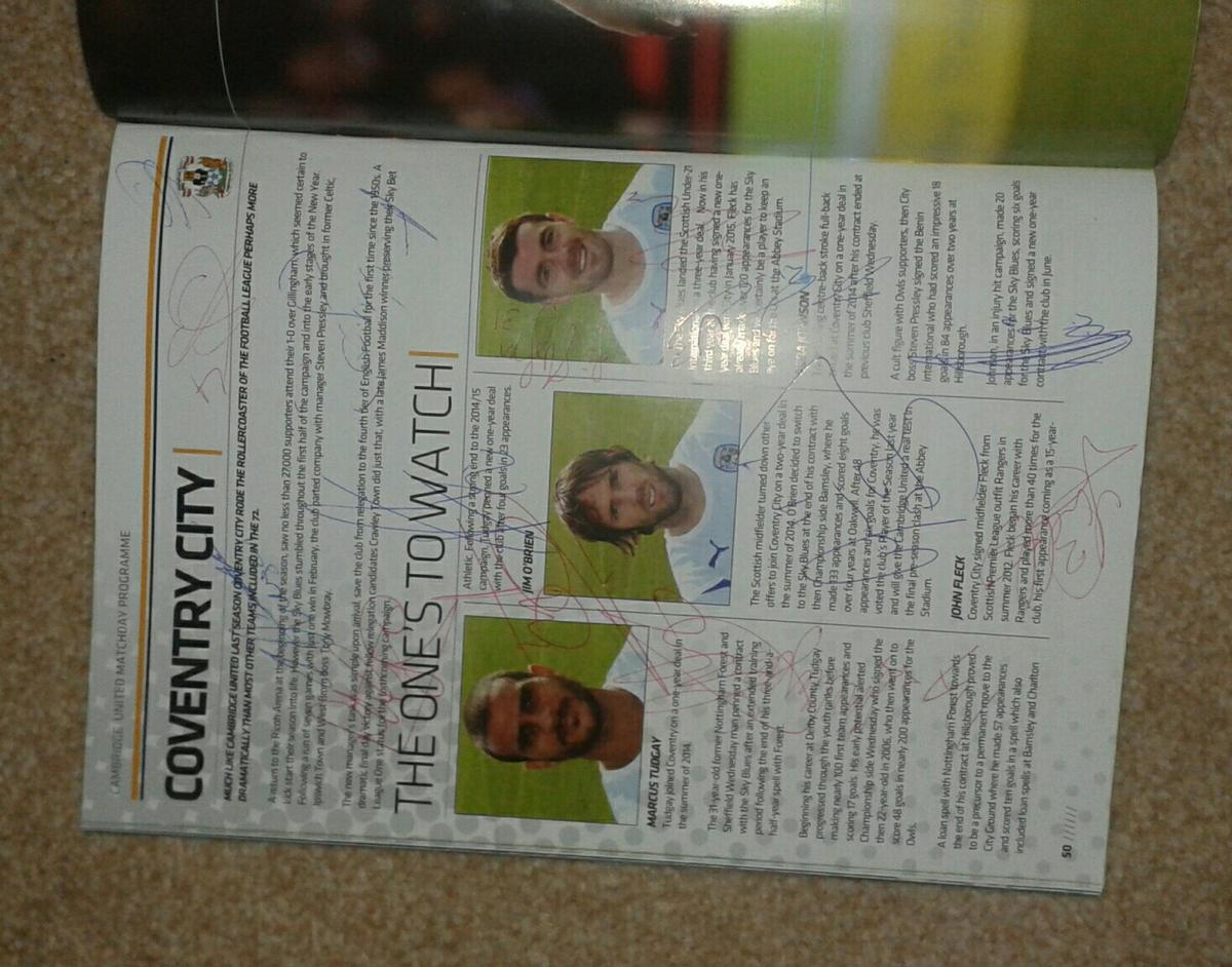 A Programme Of Cambridge United And Coventry In St Edmundsbury For 15 00 For Sale Shpock