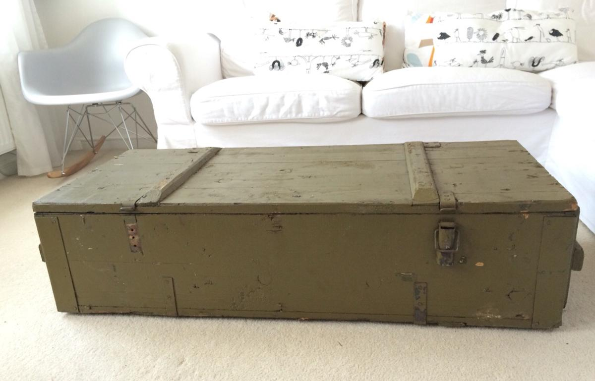 - Old Military Wooden Trunk Chest Coffee Table In S81 Bassetlaw Für