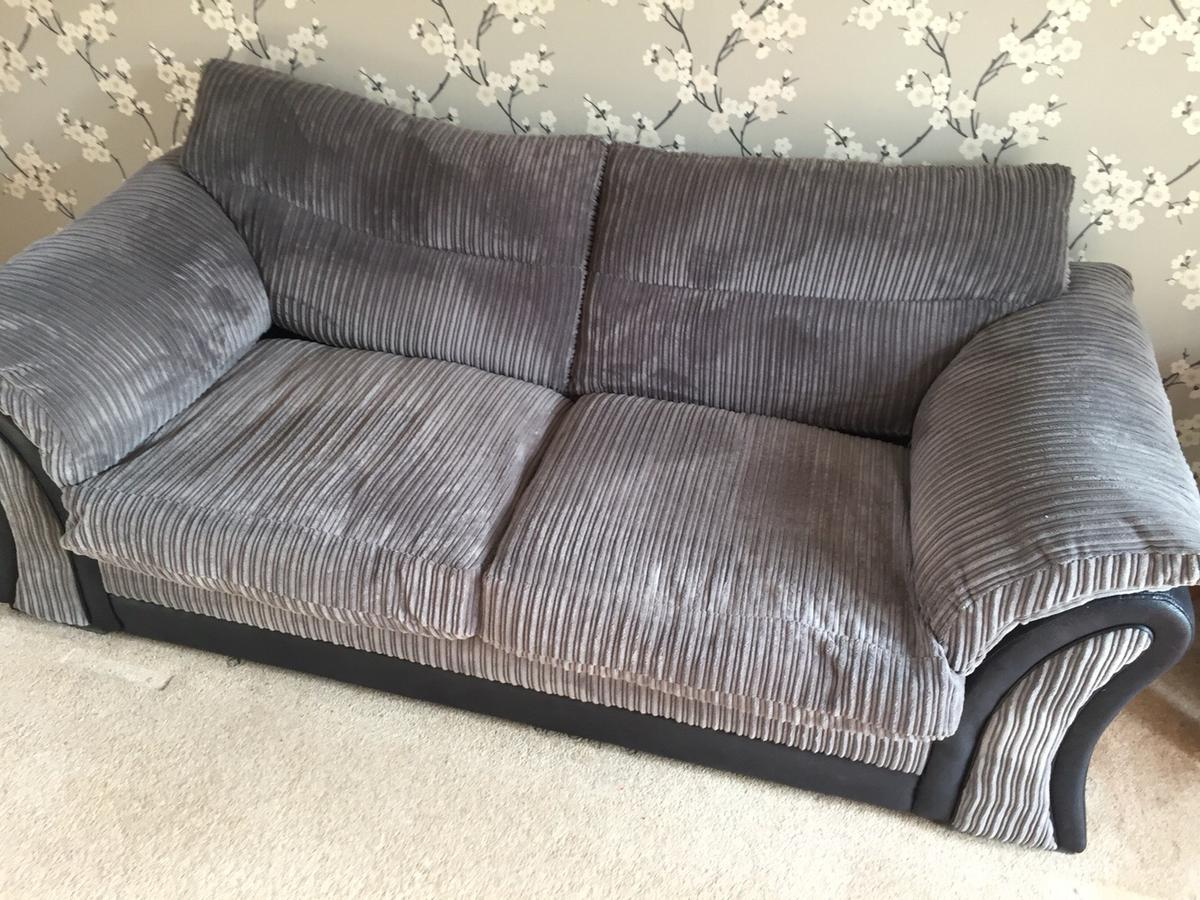 Dfs Grey Jumbo Cord Sofa And 2 Footstools In Bs15 Bristol For