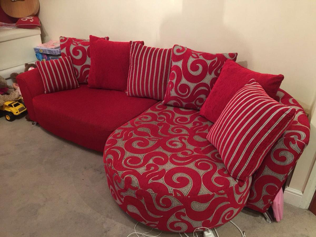 Red dfs poise sofa and matching stools