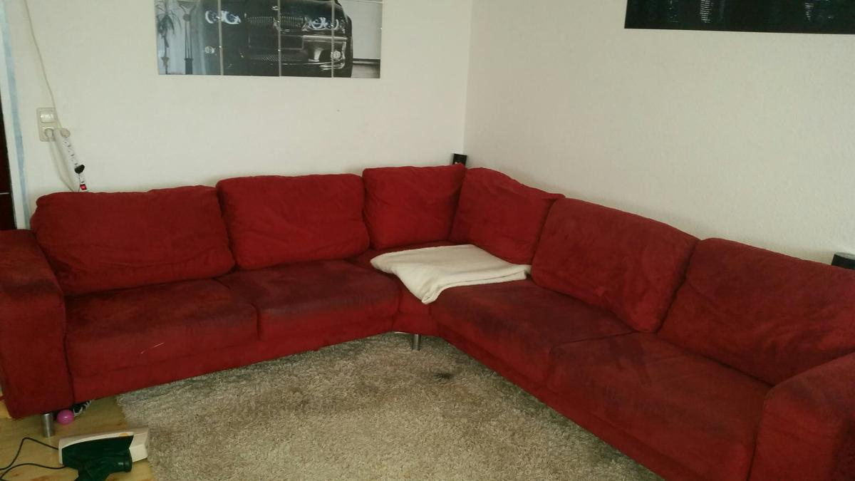 Große Rote L Couch