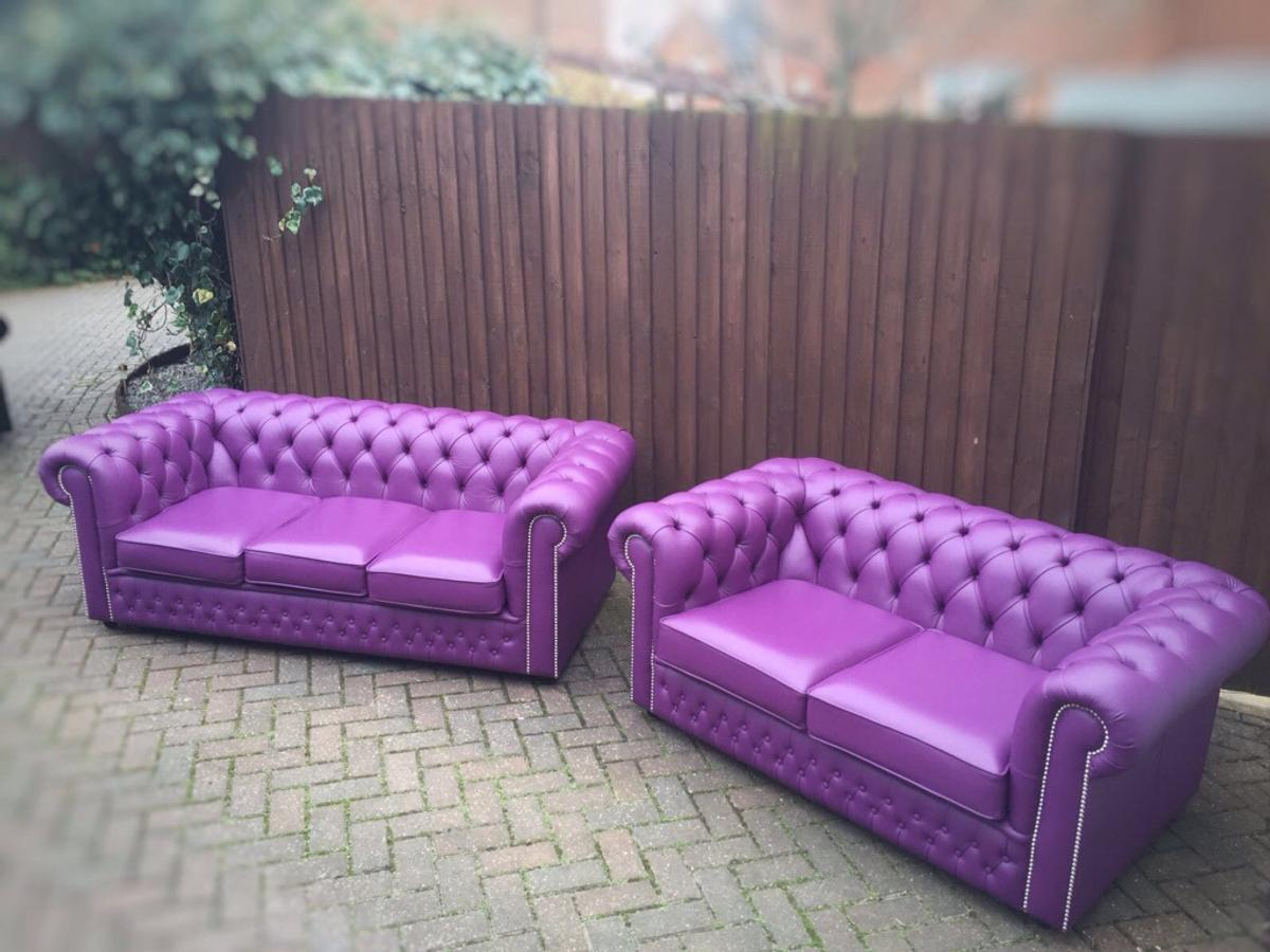 Enjoyable Purple Chesterfield Sofa Suite Squirreltailoven Fun Painted Chair Ideas Images Squirreltailovenorg