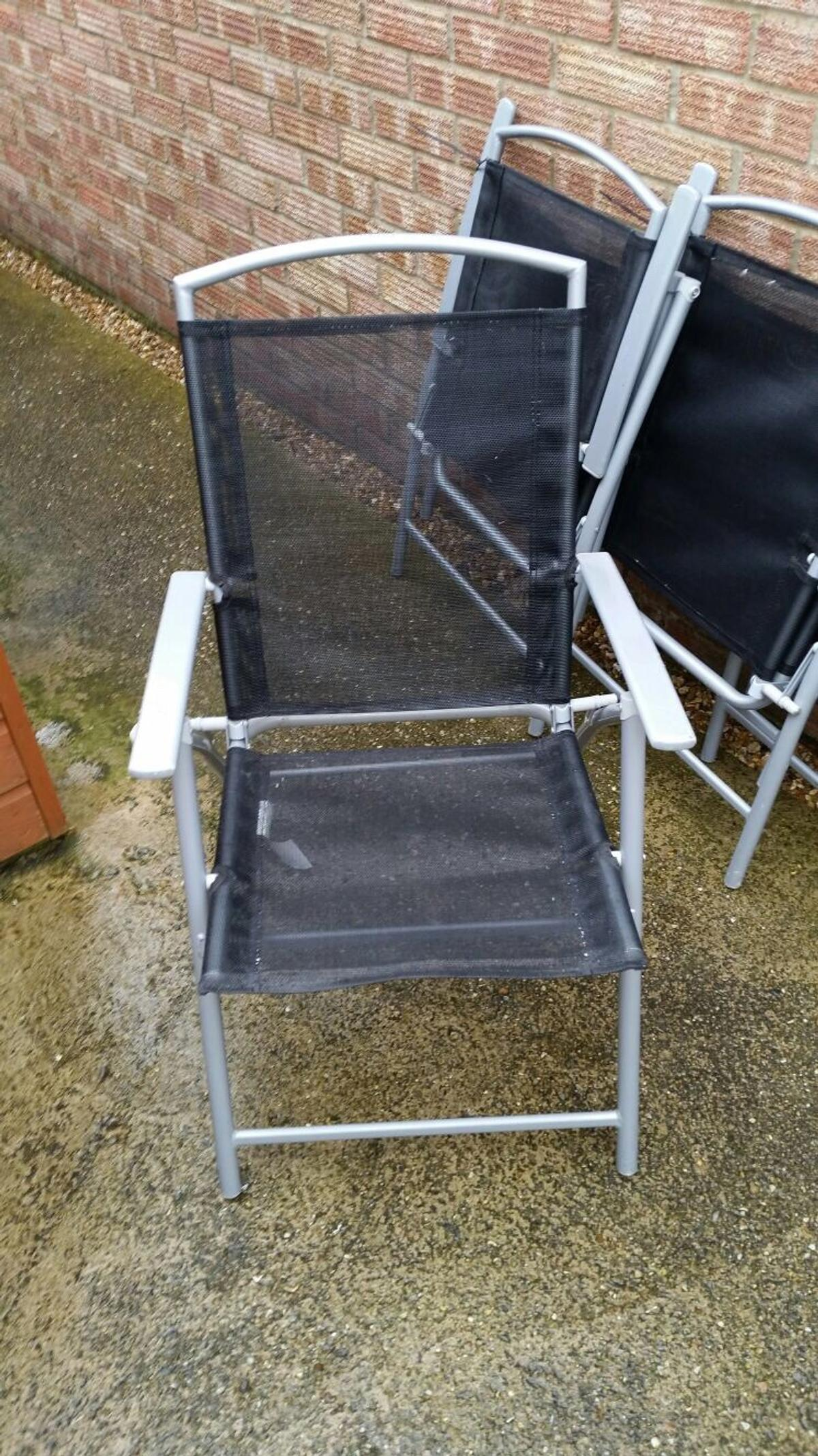 Argos Black n Grey foldable garden chairs x10
