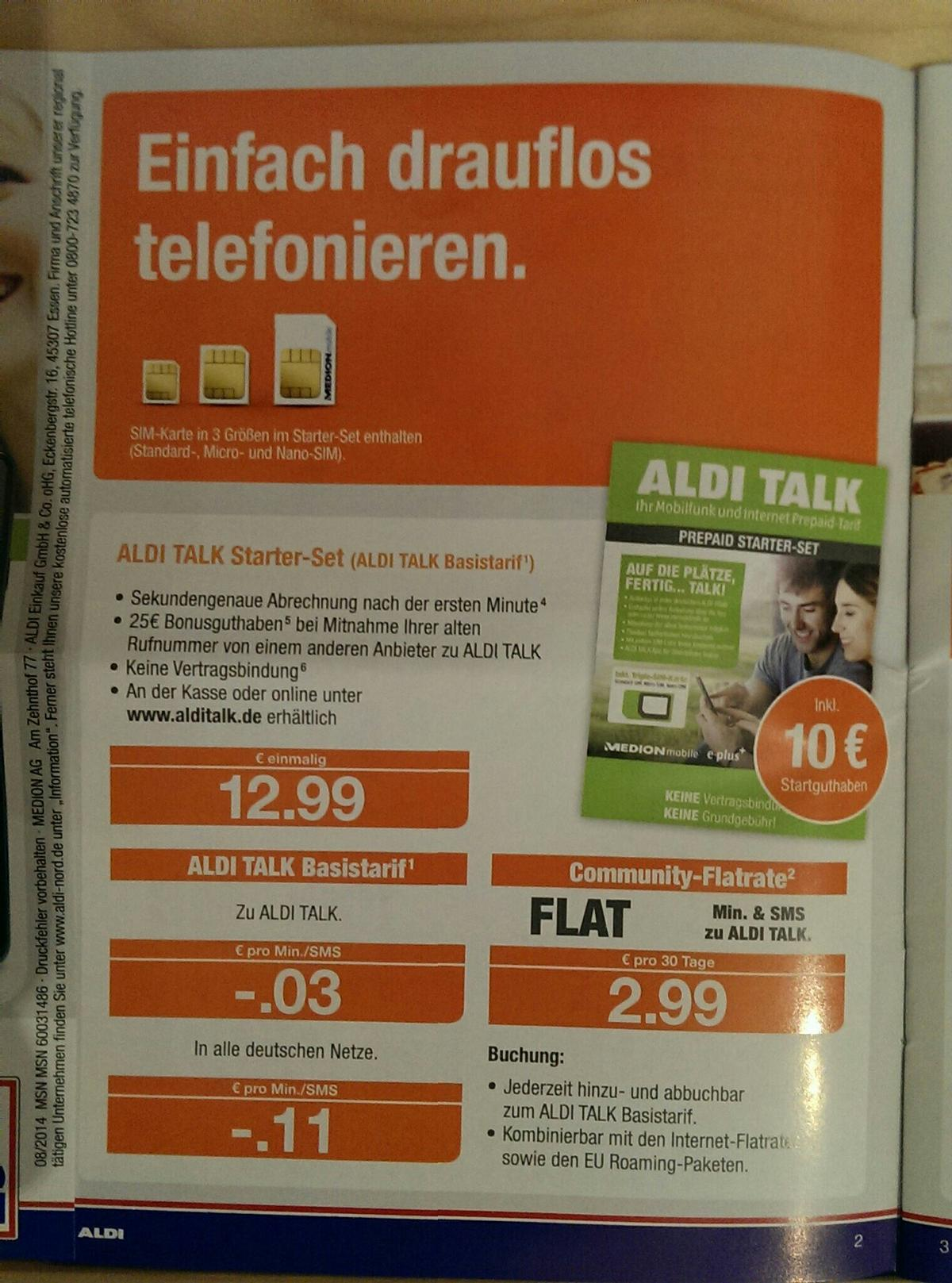 Triple Sim Karte Aldi.Top 10 Punto Medio Noticias Aldi Talk Sim Karte