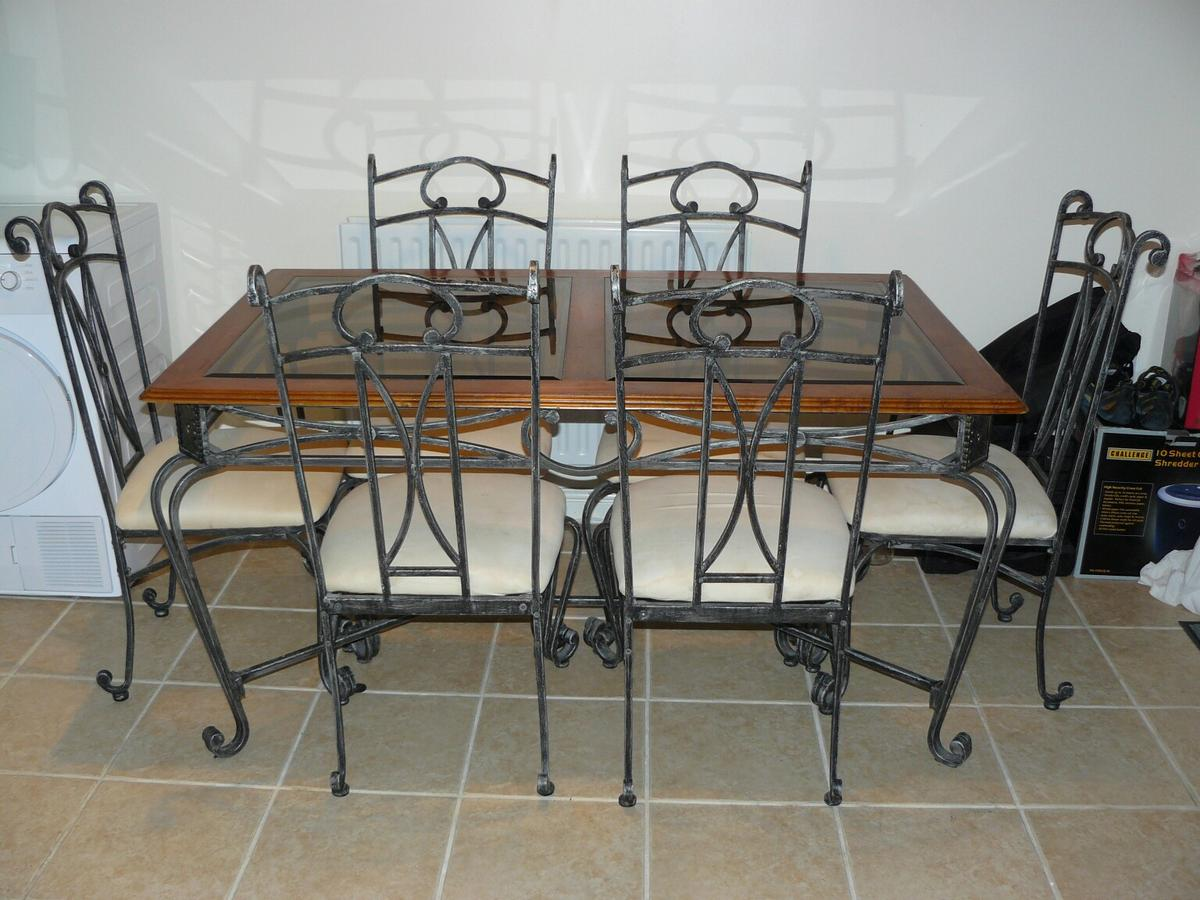 Marvelous Dining Room Table 6 Chairs Wrought Iron In Mk42 End For Onthecornerstone Fun Painted Chair Ideas Images Onthecornerstoneorg