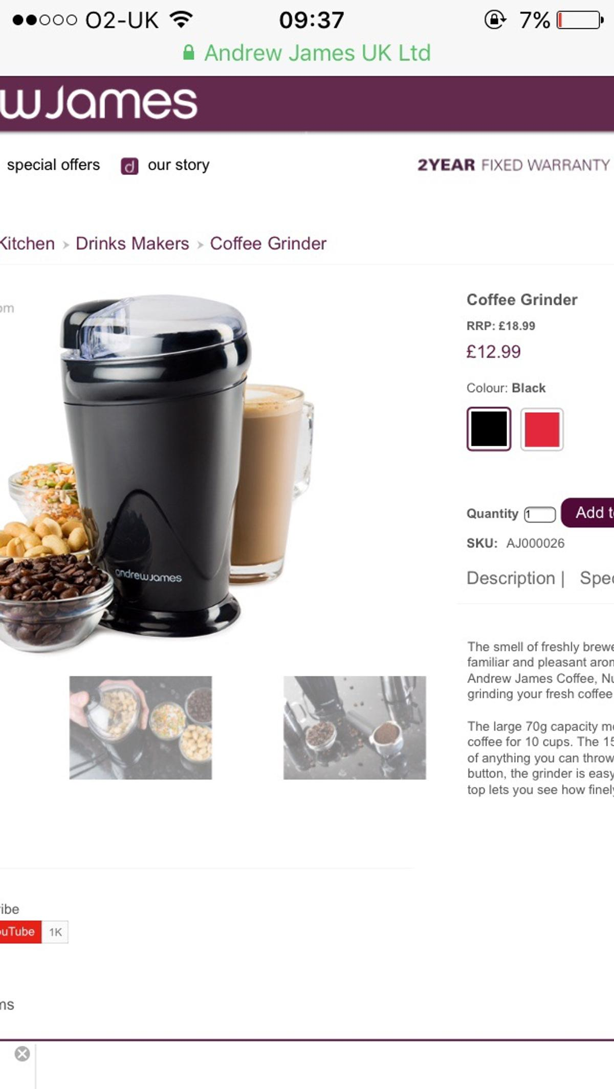 Andrew James Coffee And Nut Grinder