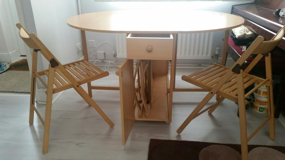 - Leaf Folding Foldable Dining Table & Chairs In SO16 Southampton