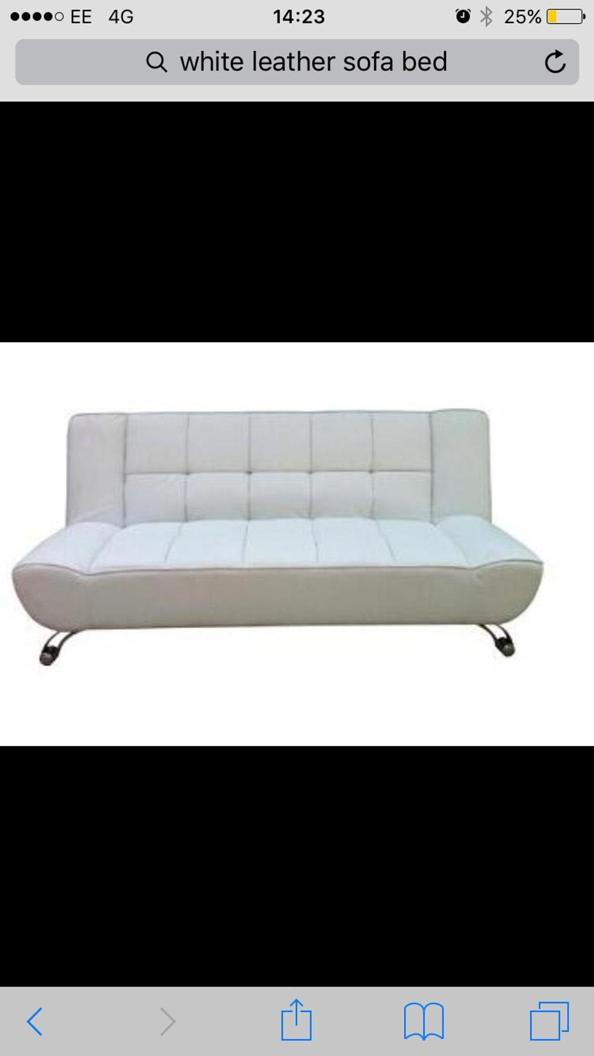 White Leather Contemporary Sofa Bed