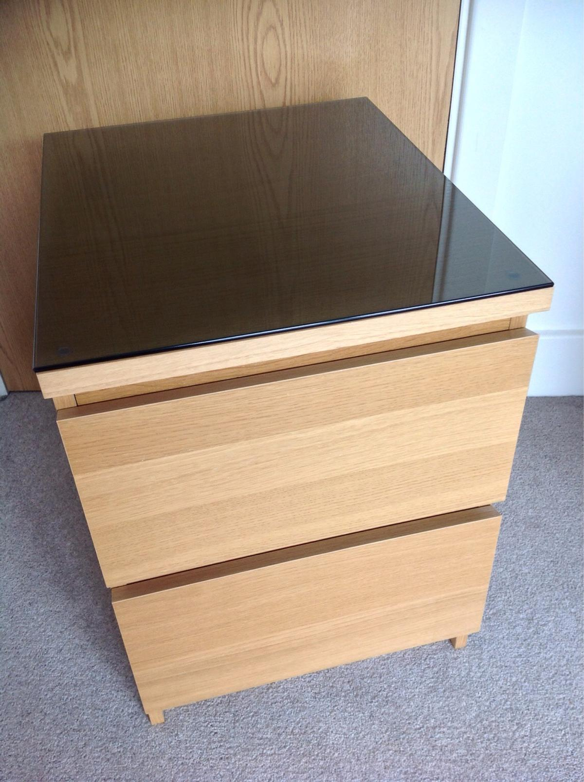 Ikea Malm 2 Drawer Bedside Unit Glass Top In Cf64 Penarth For 18 00 For Sale Shpock