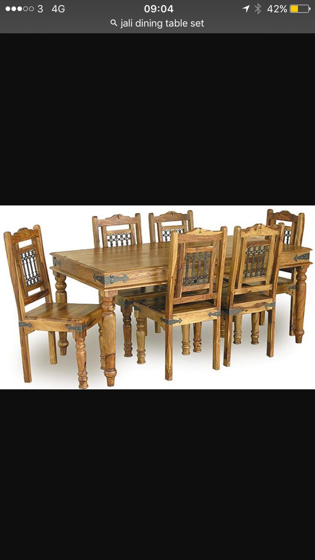 Solid Sheesham Wood Dining Table Chairs