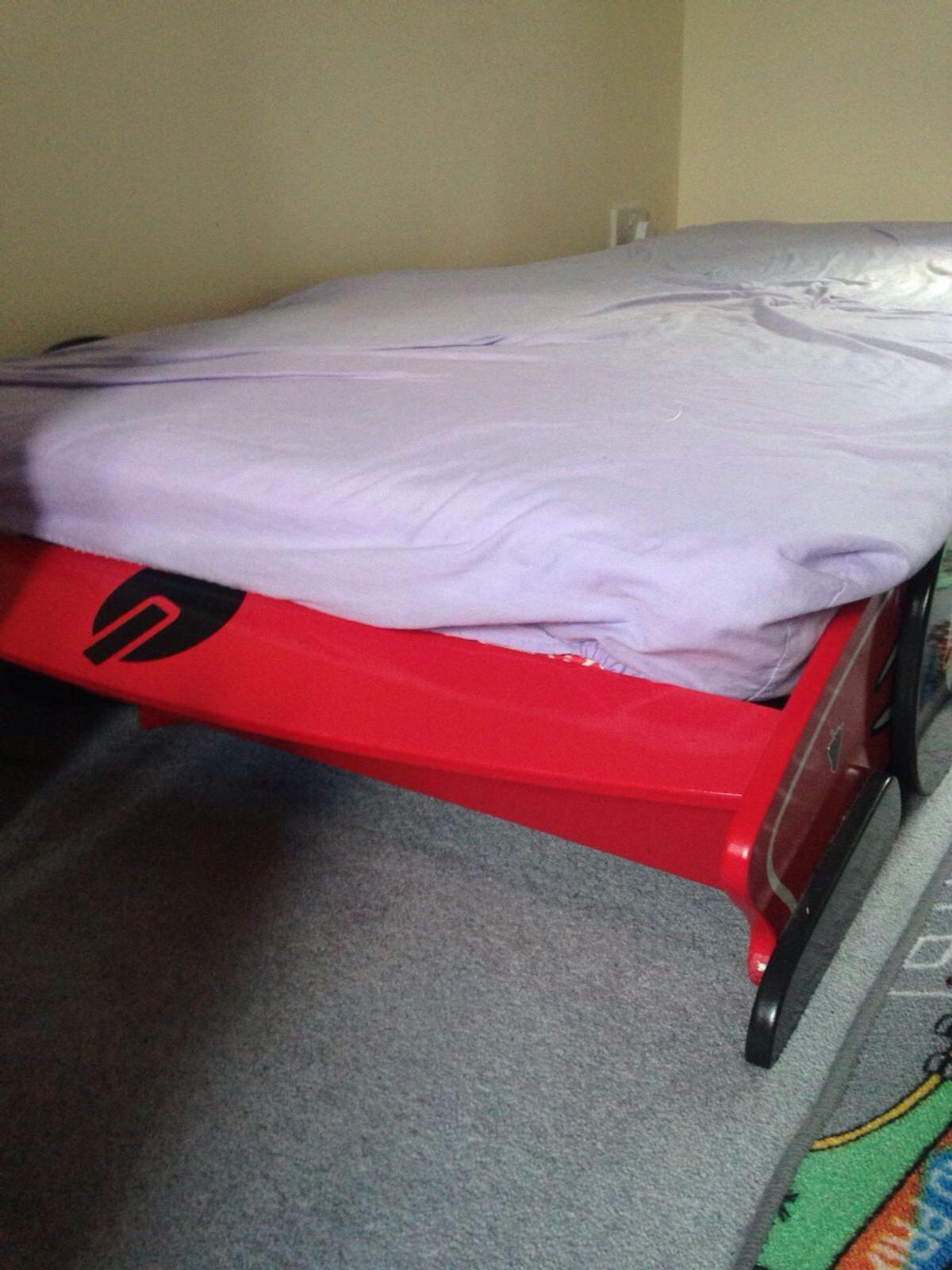 Black Red Race Car Bed With Single Mattress