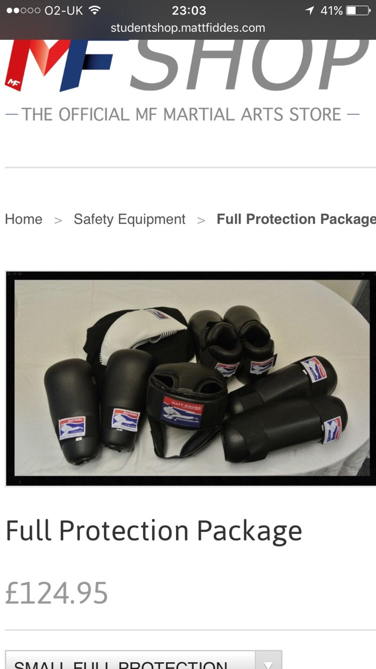 Martial arts Matt Fiddes sparring kit
