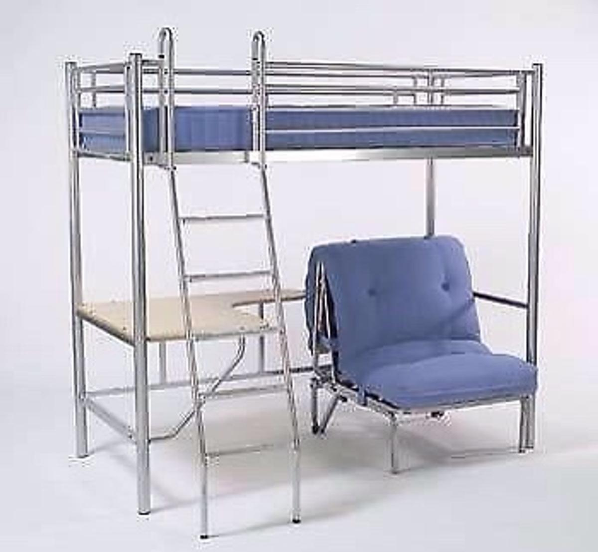 Jay Be Metal High Sleeper Bed Desk Futon