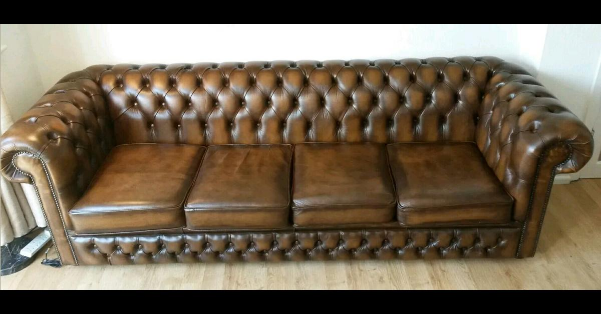 Sensational Brown 4 Seater Chesterfield Sofa Delivery Av Pabps2019 Chair Design Images Pabps2019Com