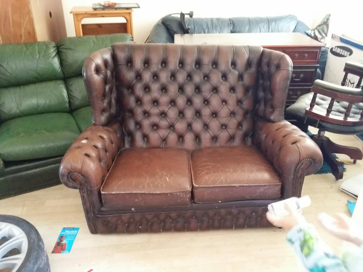 Brown leather highback chesterfield sofa in CF83 Caerphilly for ...