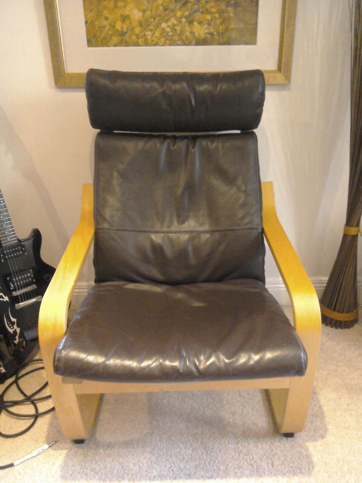 Fabulous Ikea Ipoang Leather Chair And Footstool Machost Co Dining Chair Design Ideas Machostcouk