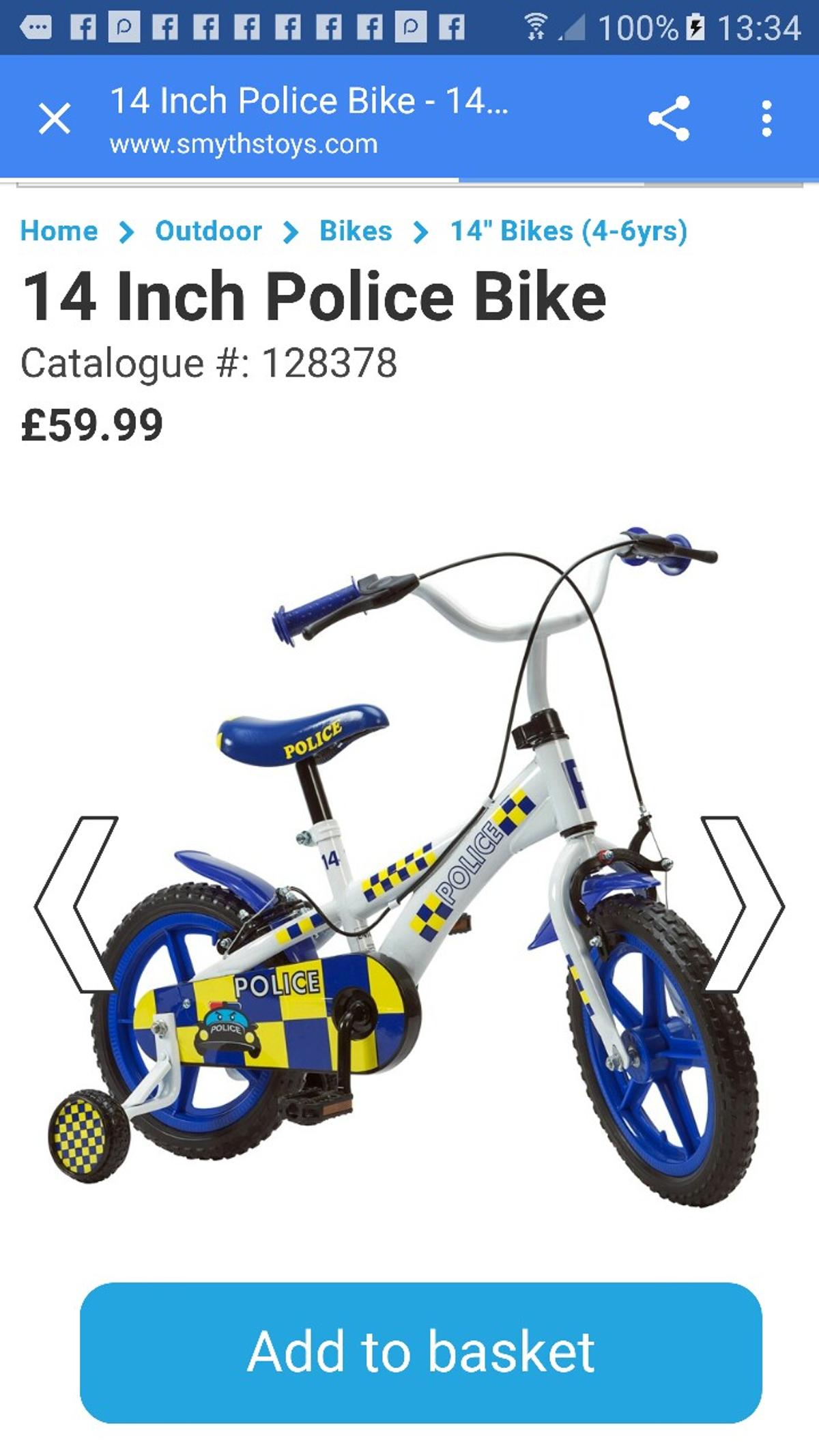 Police bike 14 inch comes with police siren in DY4 Tipton