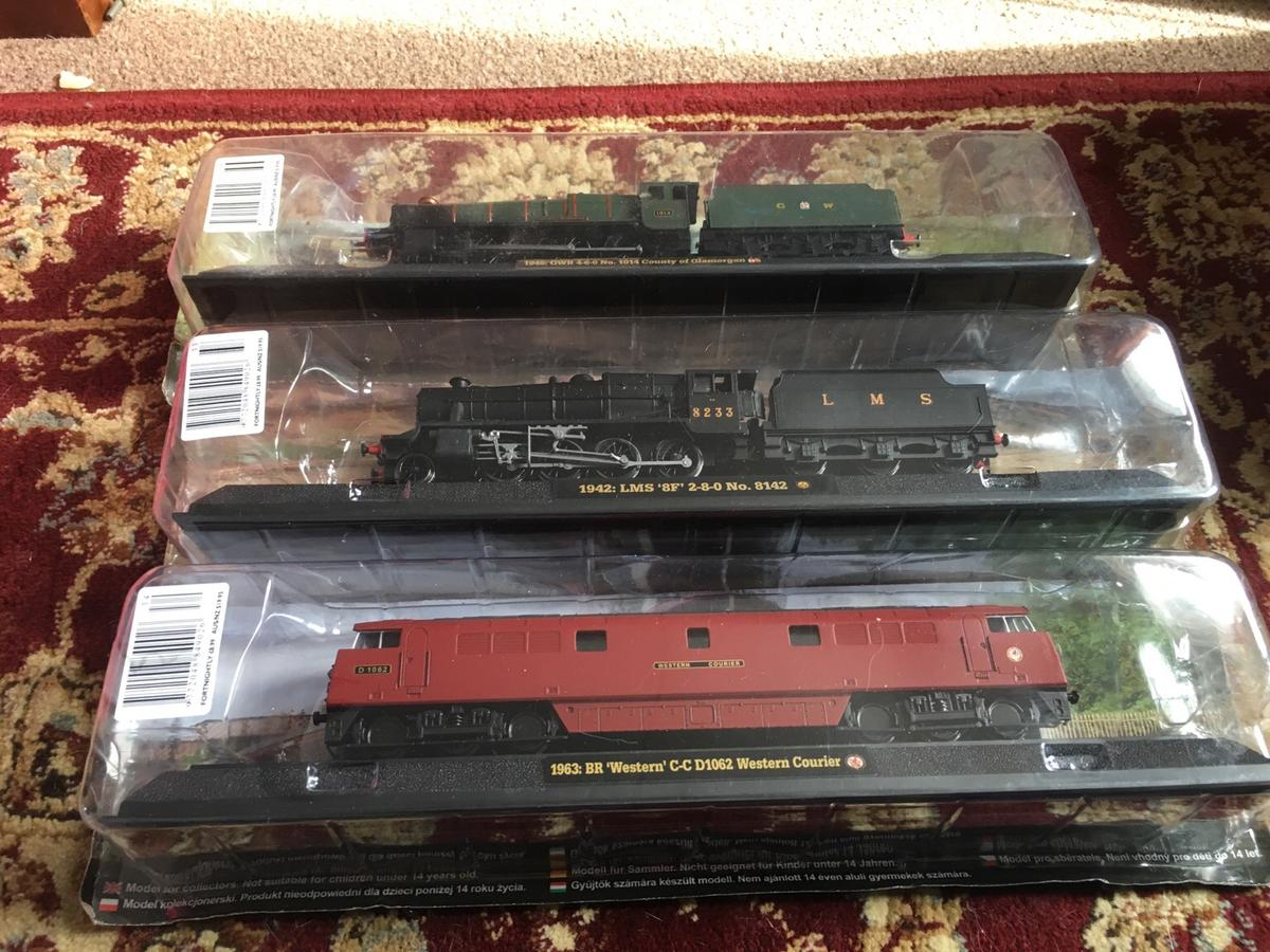 OO gauge model trains on stands sealed in WF9 Elmsall for
