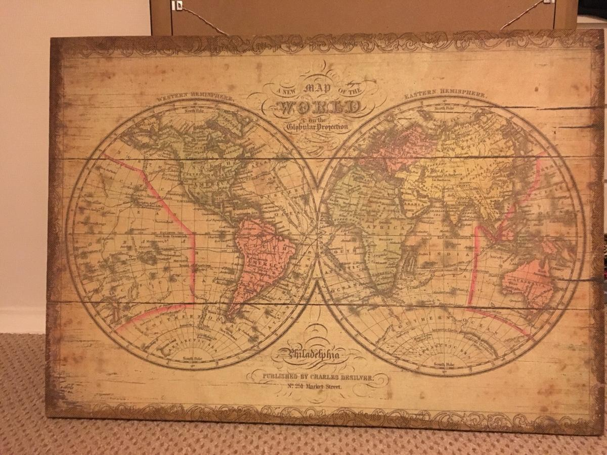 Large world map canvass picture