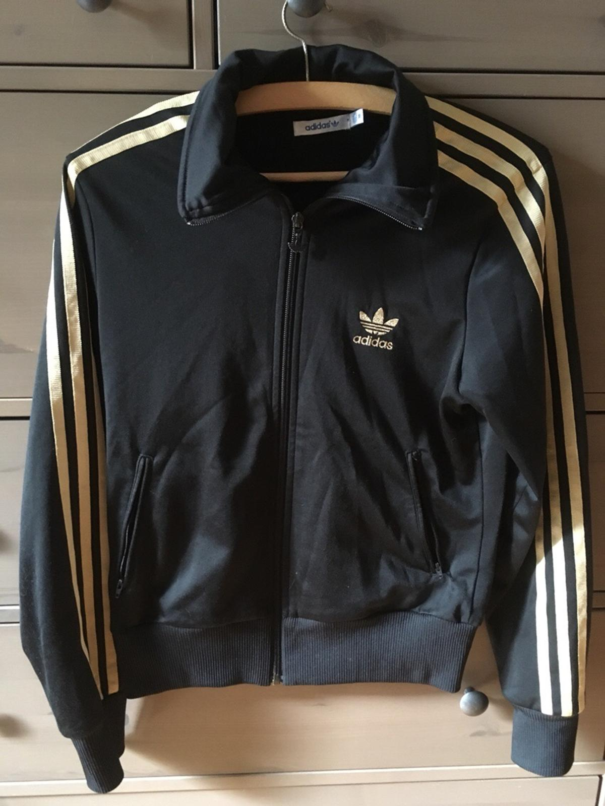 Adidas firebird TT black and gold track jacket NWT