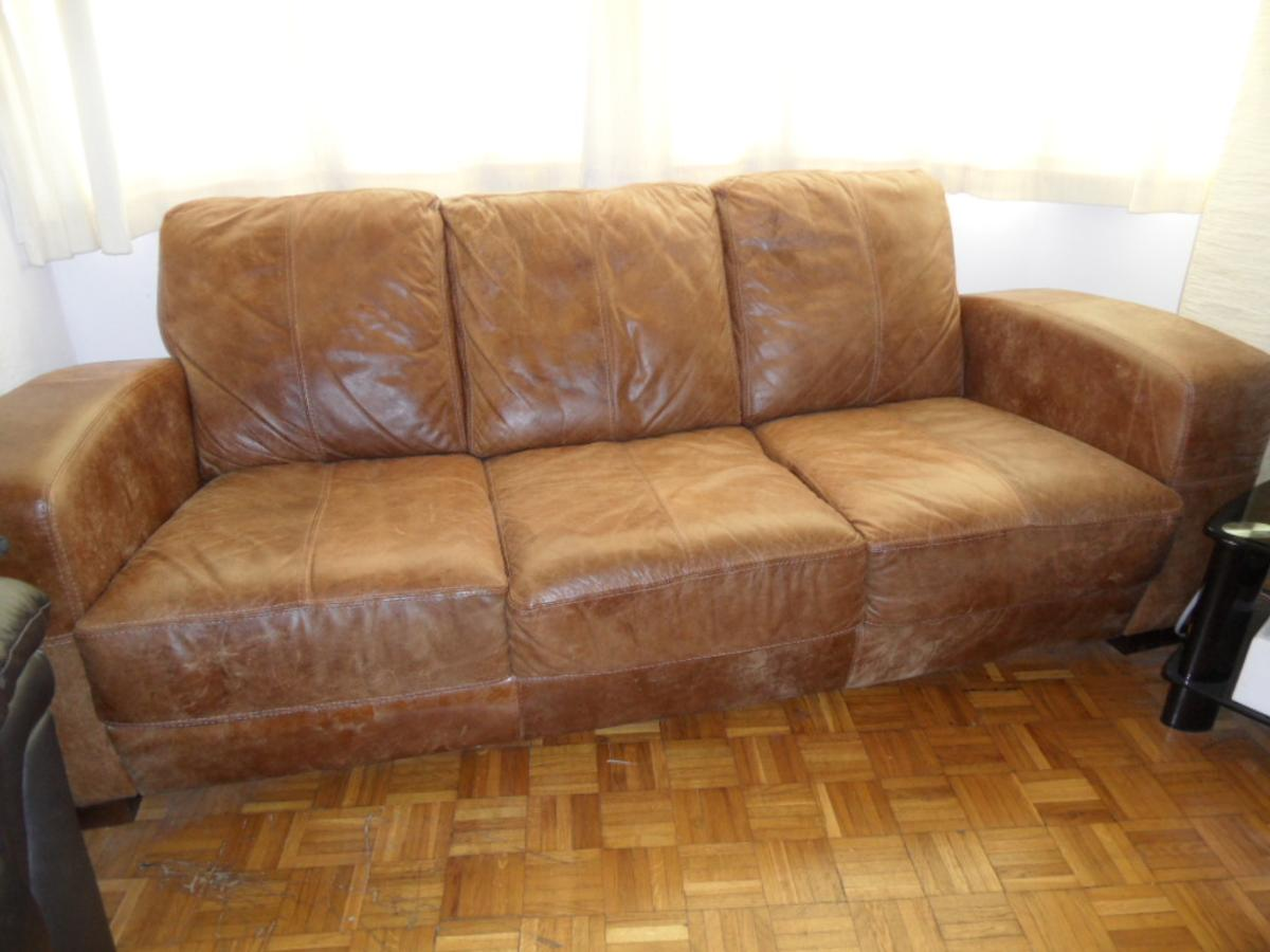 3 Seater Distressed Leather Sofa