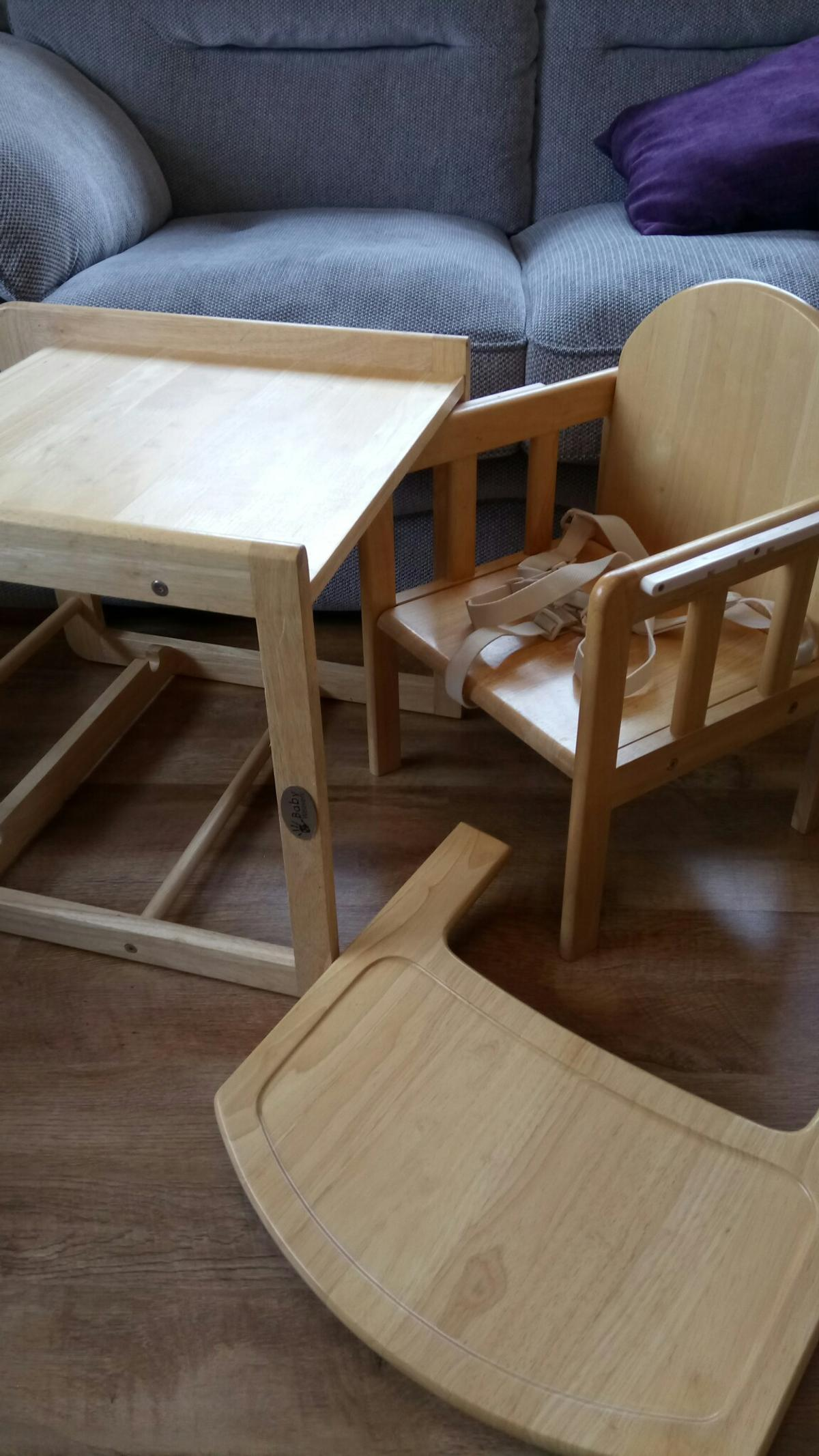 Description Wooden High Chair Converts To Table And