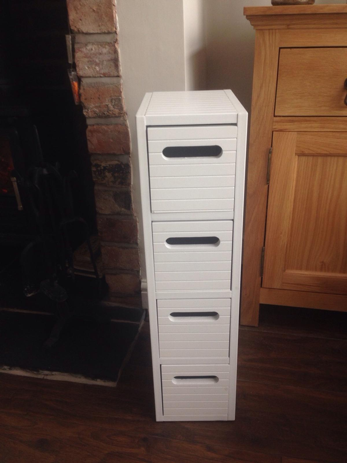 White Slim Bathroom Storage Drawer Unit