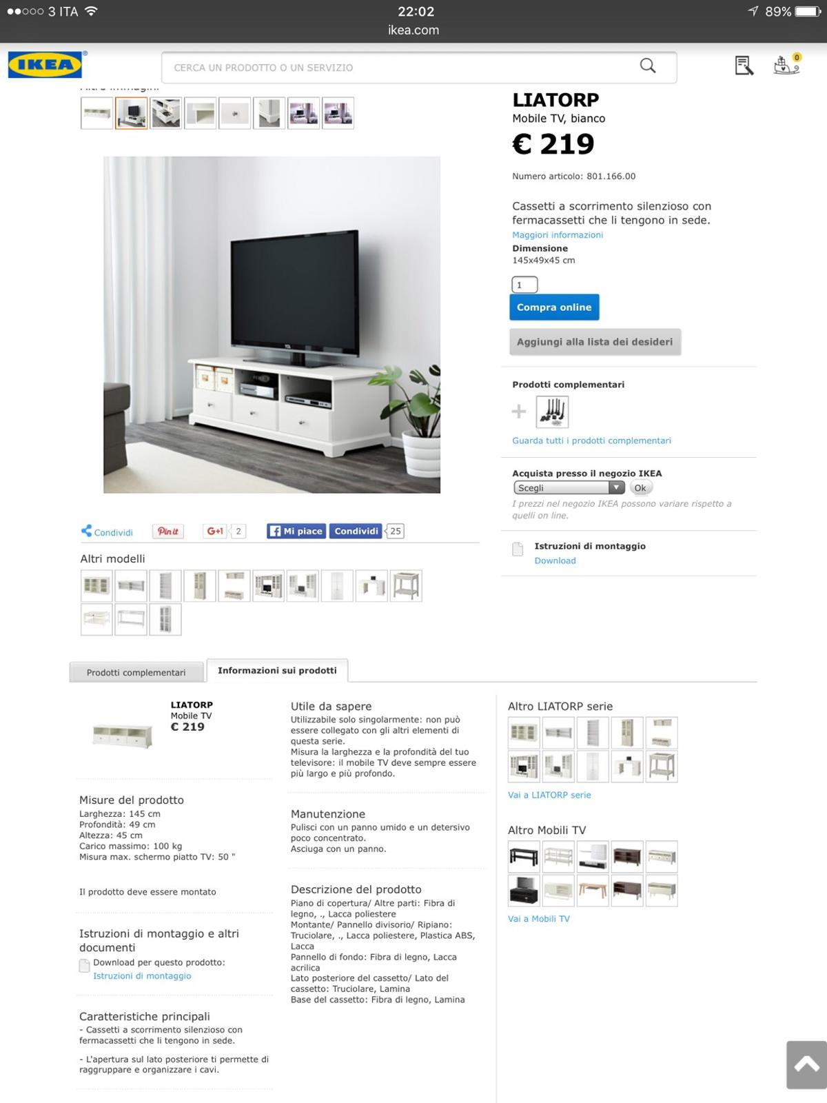 Mobile Tv Ikea Liatorp In 00154 Roma For 12000 For Sale Shpock