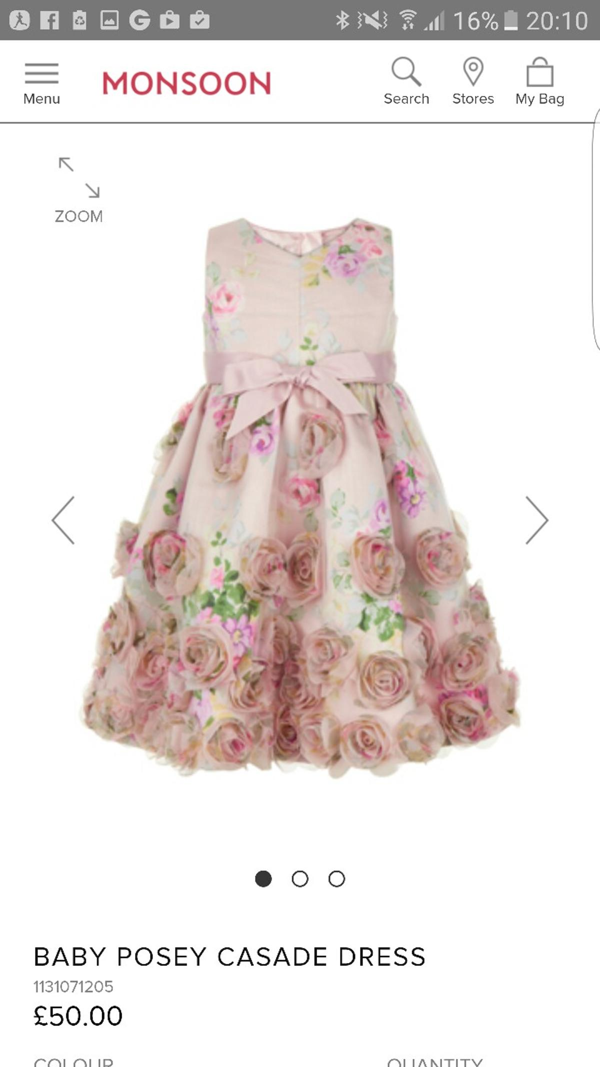 763aeb8a6 Monsoon Baby Girl Flower Girl/ Party Dress