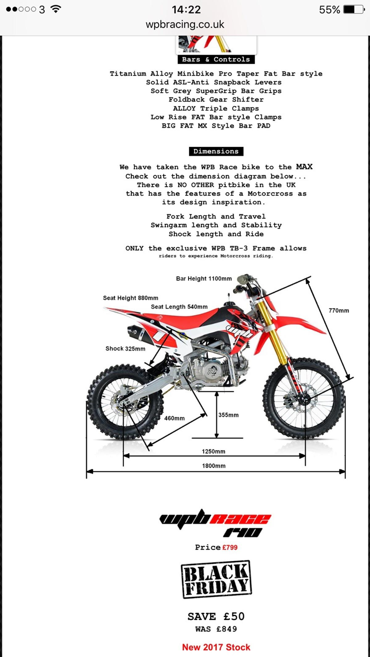 Wpb 140r pit bike 2017 model in SS13 Basildon for £550 00 for sale
