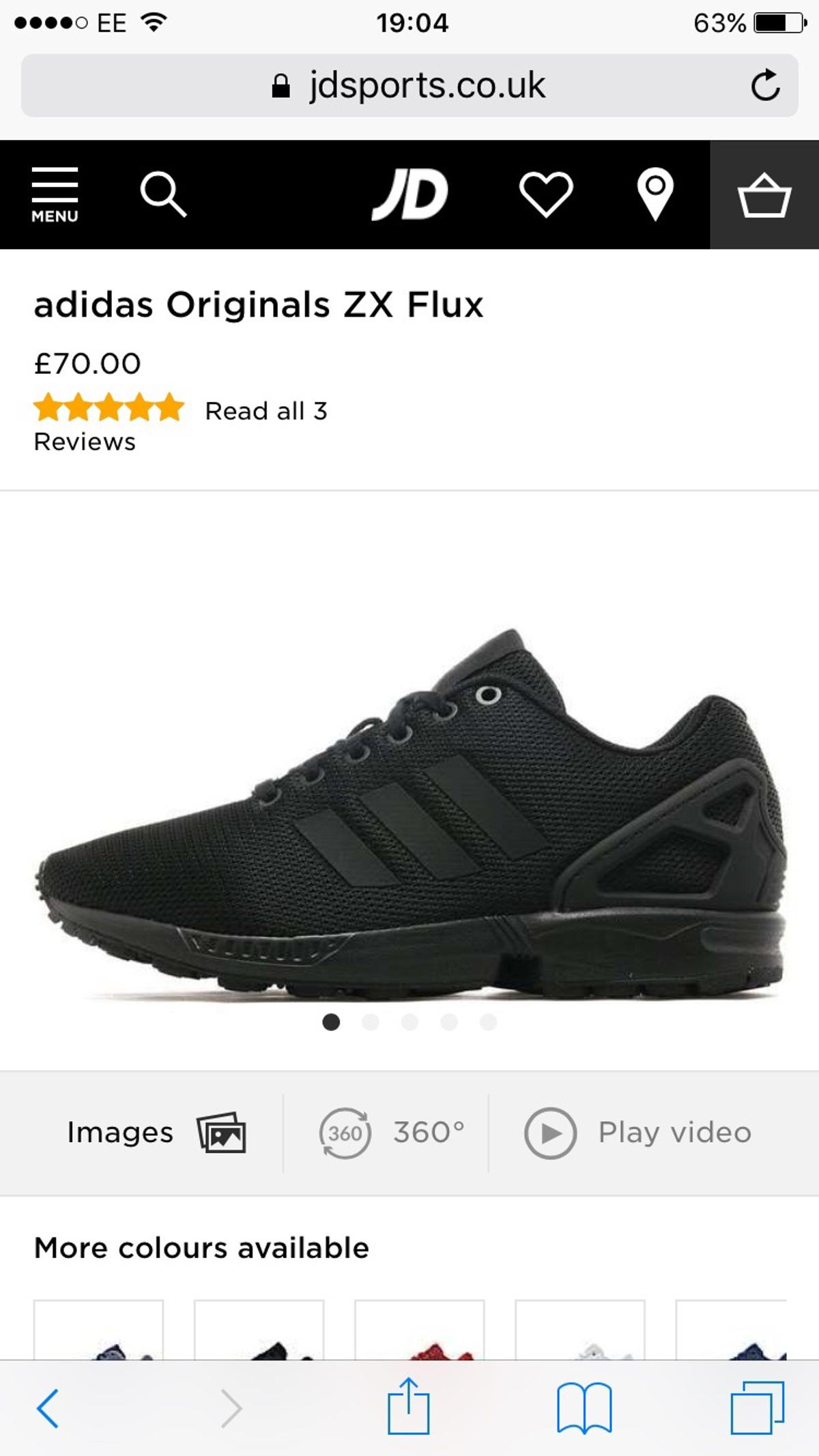 5af9779fabf75 Adidas Originals Zx Flux mens black trainers in E1 London for £50.00 ...