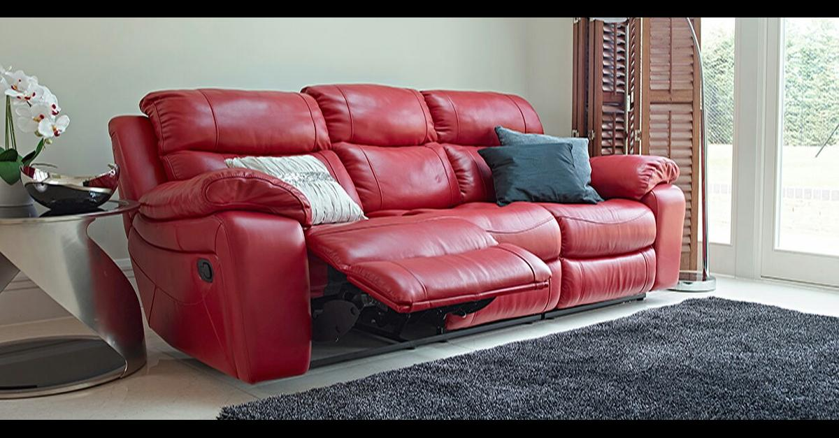Red Leather Recliner Sofa In Tf2