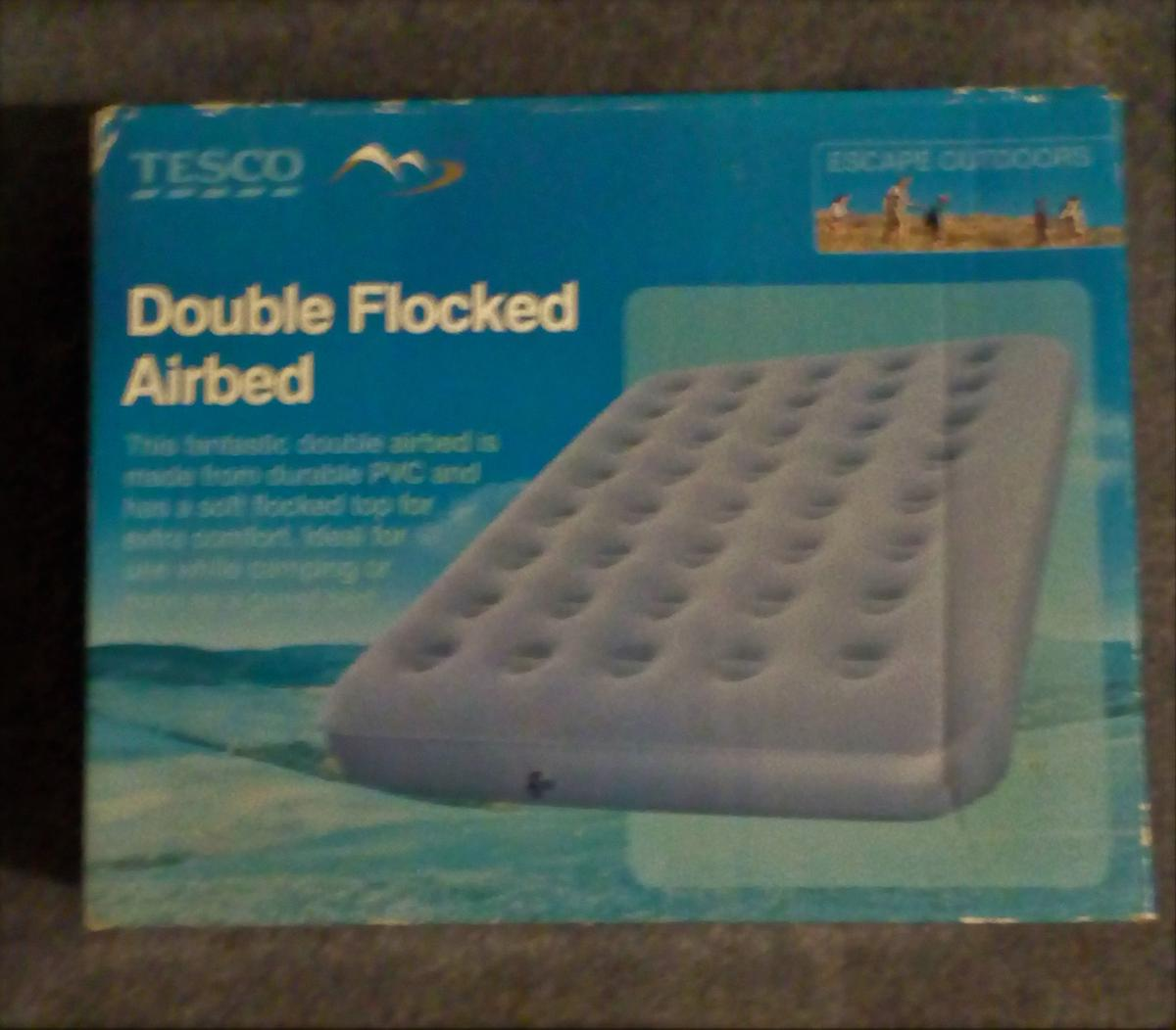 Double Flocked Air Bed For Camping or As a Guest bed Tesco Single