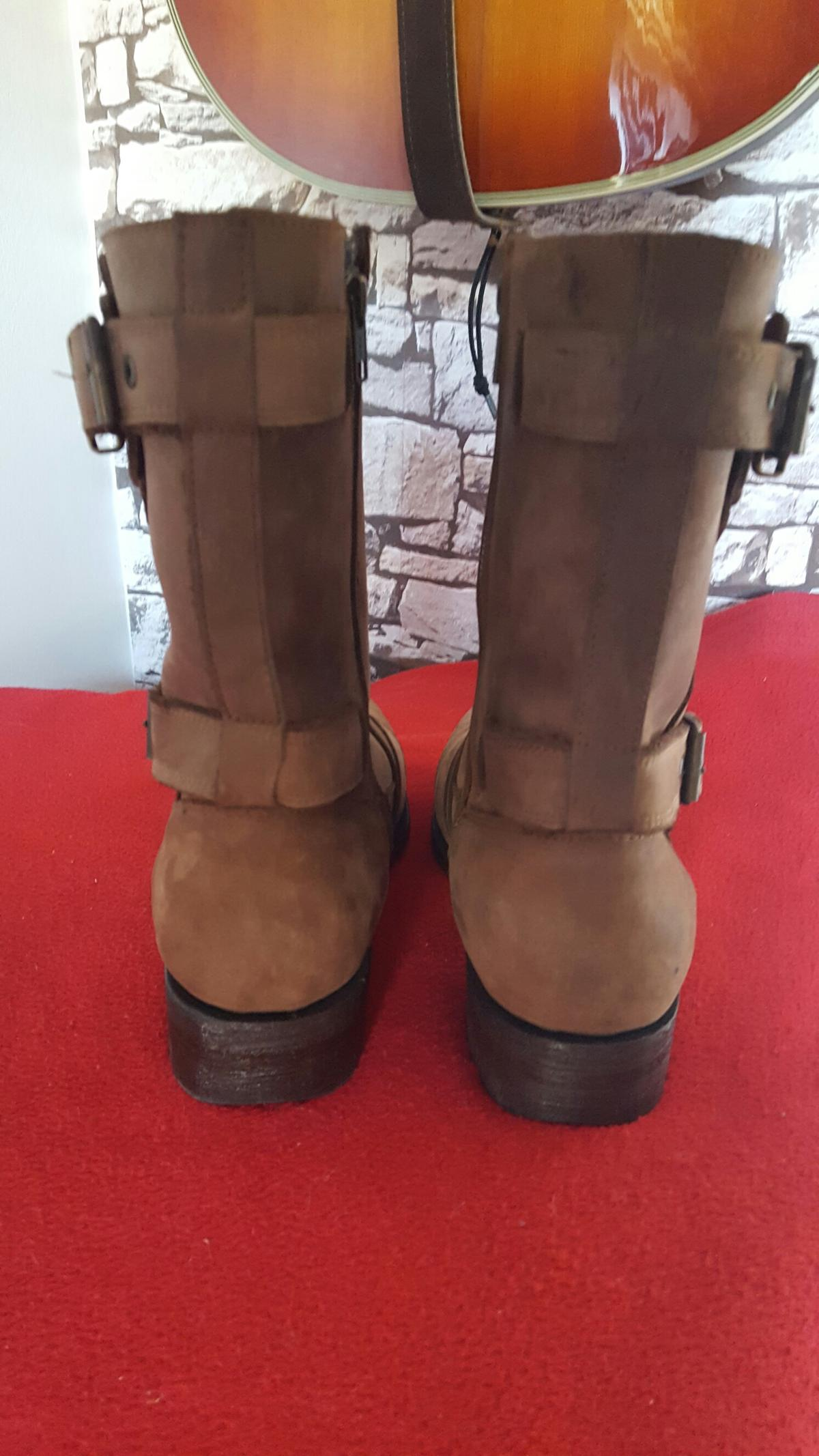 Online Grinders 5009 Route 66 Brown Leather Boots Biker Boot