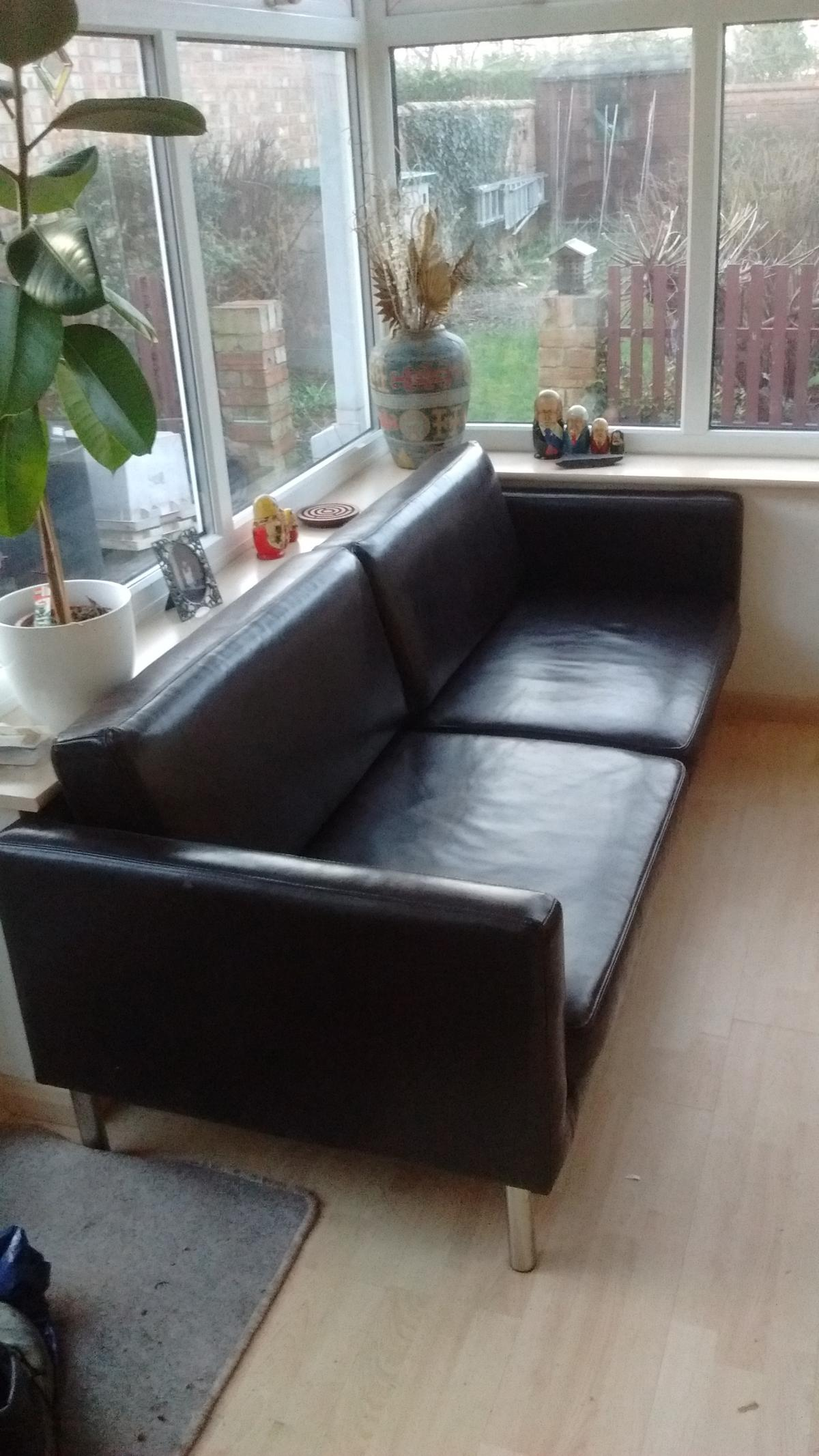 IKEA BROWN FAUX LEATHER SOFA in MK42 Kempston for £100.00 ...
